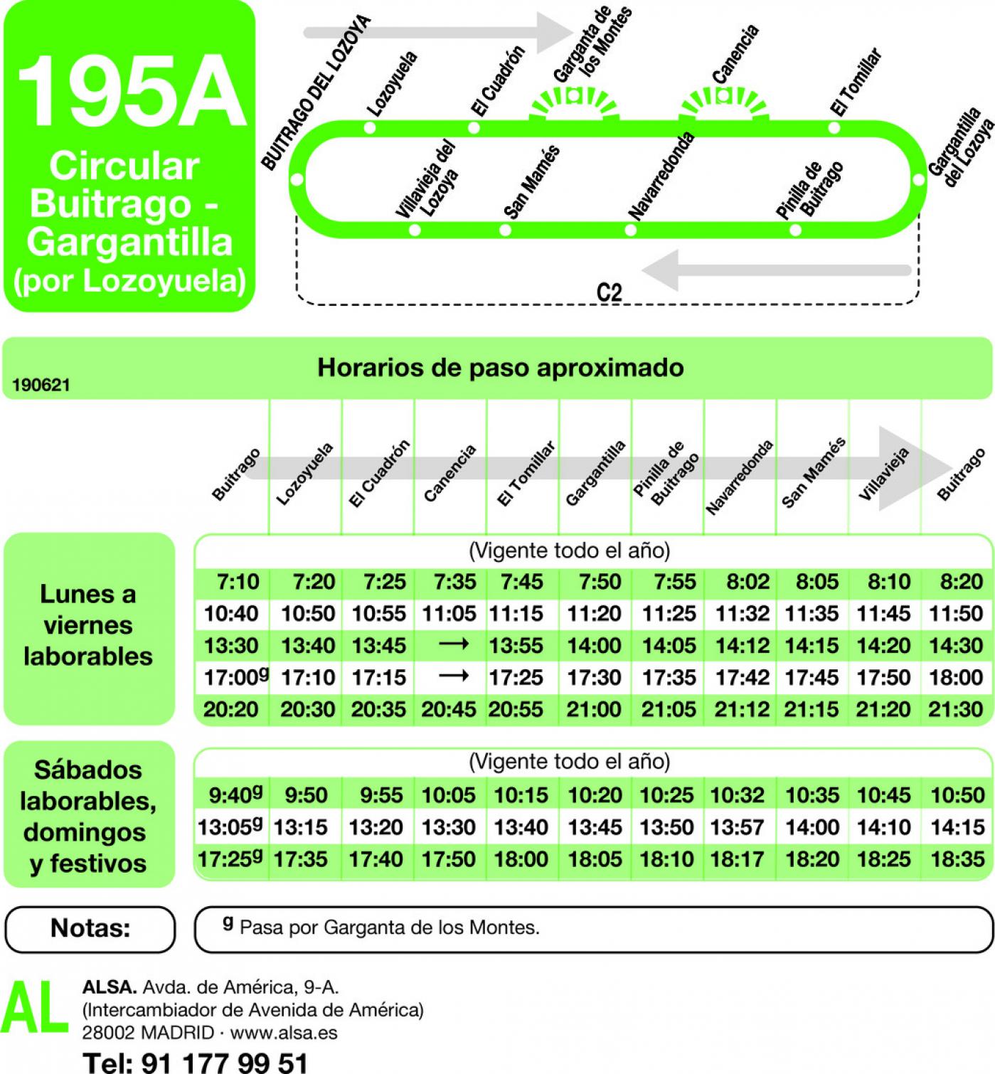 Tabla de horarios y frecuencias de paso en sentido vuelta Línea 195-A: Buitrago - Gargantilla - Lozoyuela