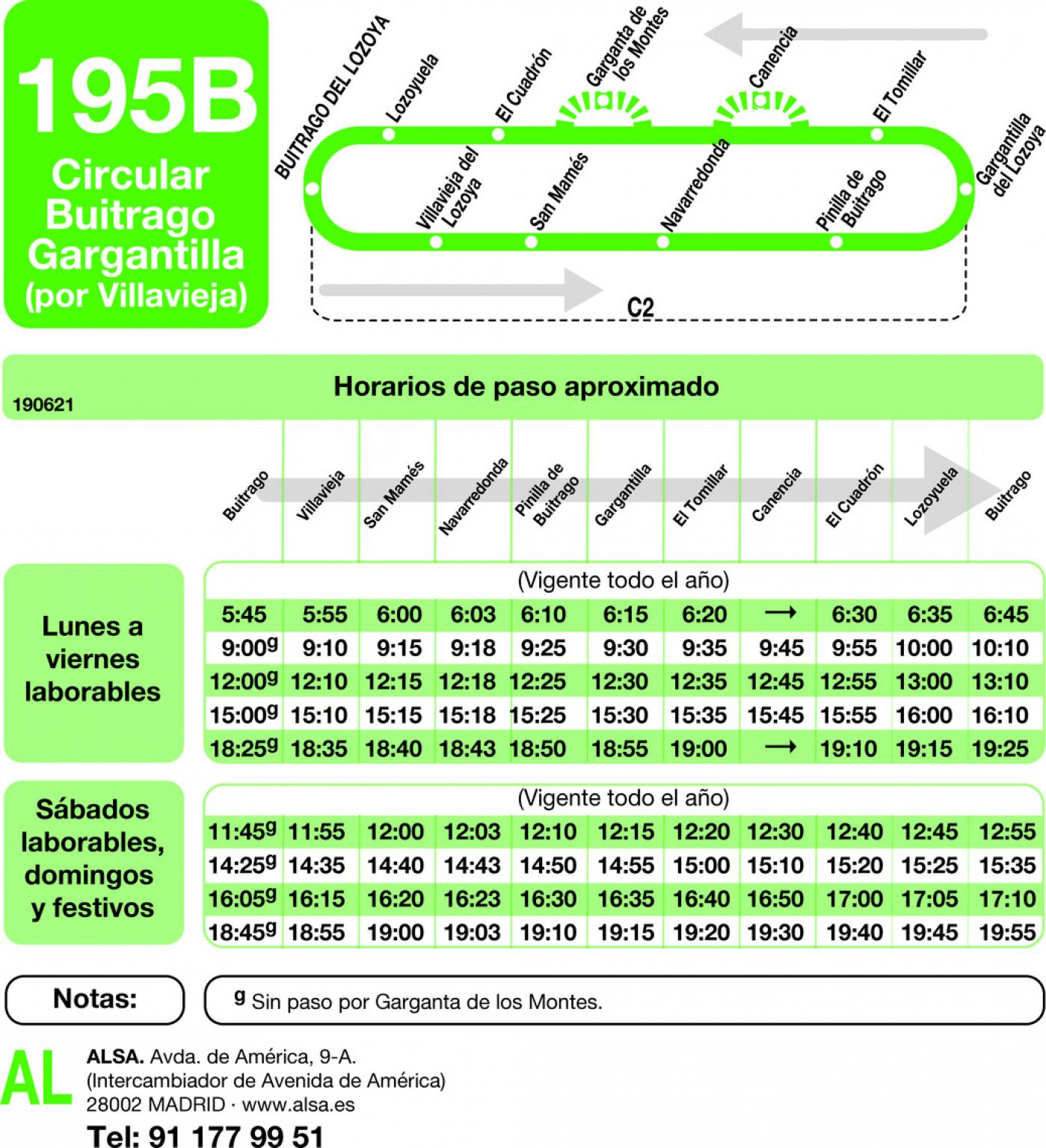 Tabla de horarios y frecuencias de paso en sentido vuelta Línea 195-B: Buitrago - Gargantilla
