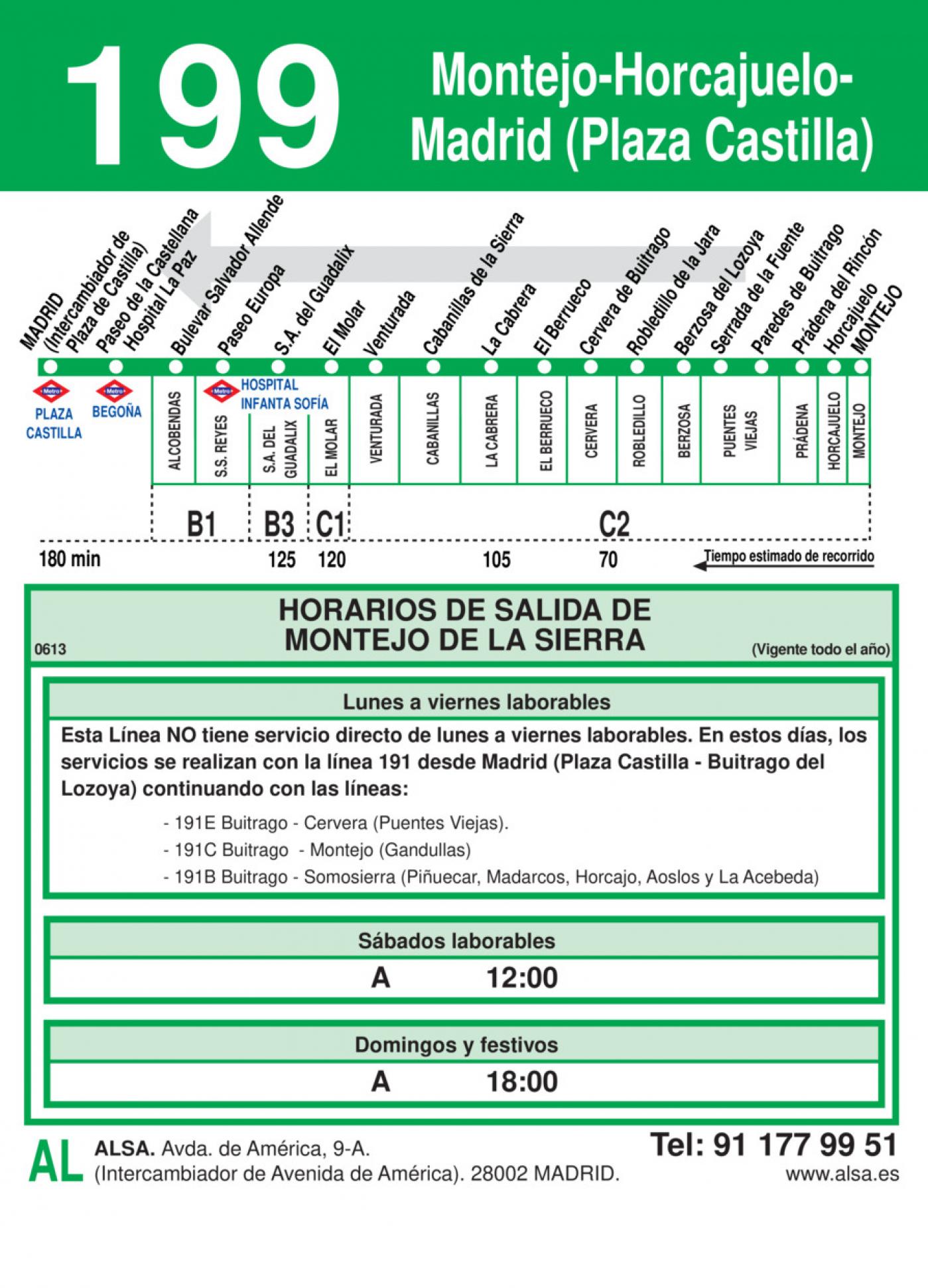 Tabla de horarios y frecuencias de paso en sentido vuelta Línea 199: Madrid (Plaza Castilla) - Horcajuelo - Montejo
