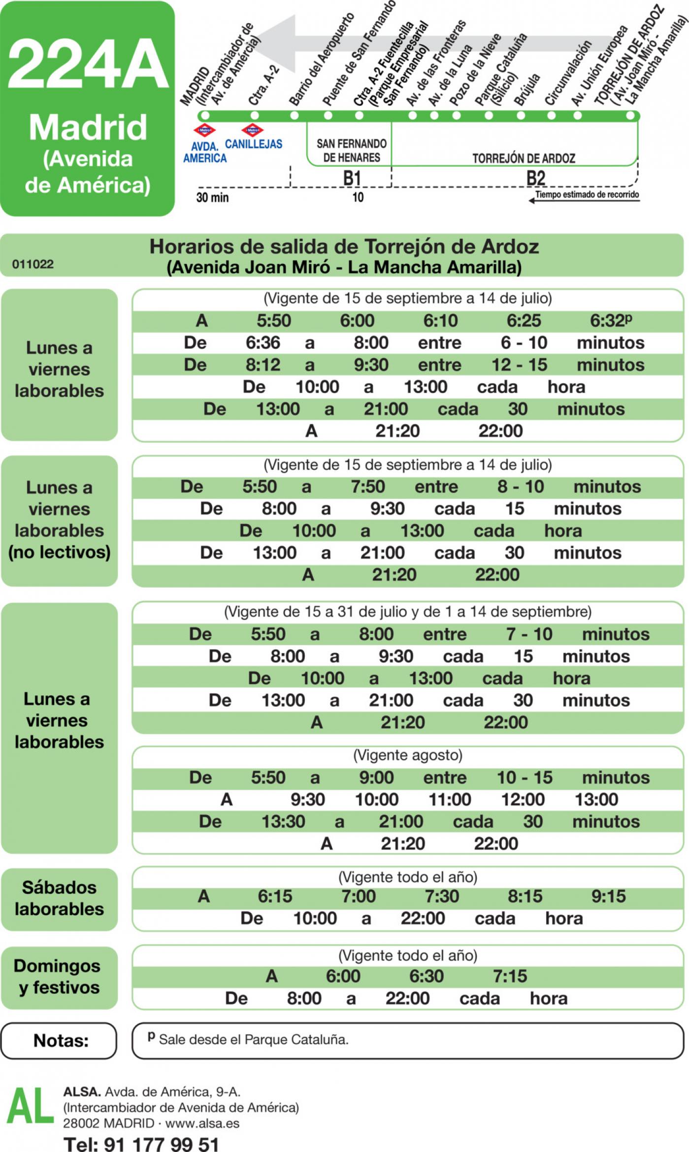 Tabla de horarios y frecuencias de paso en sentido vuelta Línea 224-A: Madrid (Avenida América) - Torrejón de Ardoz (La Mancha Amarilla)