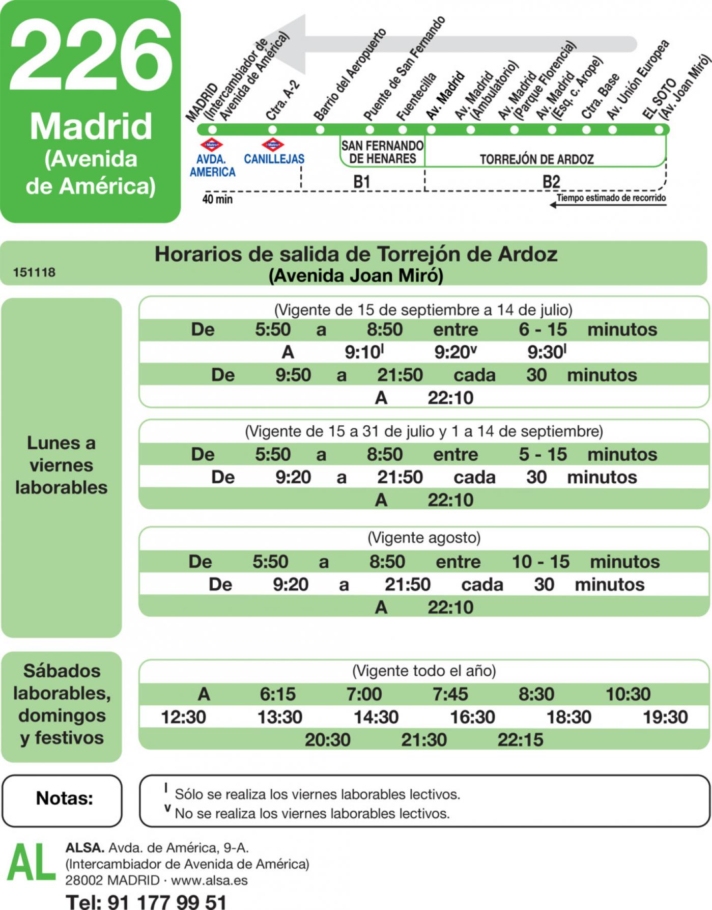 Tabla de horarios y frecuencias de paso en sentido vuelta Línea 226: Madrid (Avenida América) - Torrejón de Ardoz (Las Veredillas)