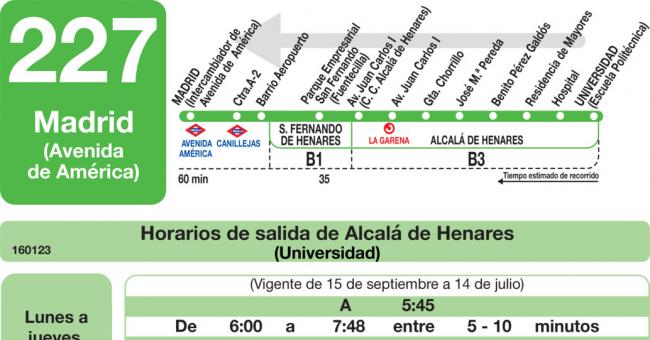 Horarios de autob s 227 madrid avenida am rica alcal for Autobuses alcala de henares