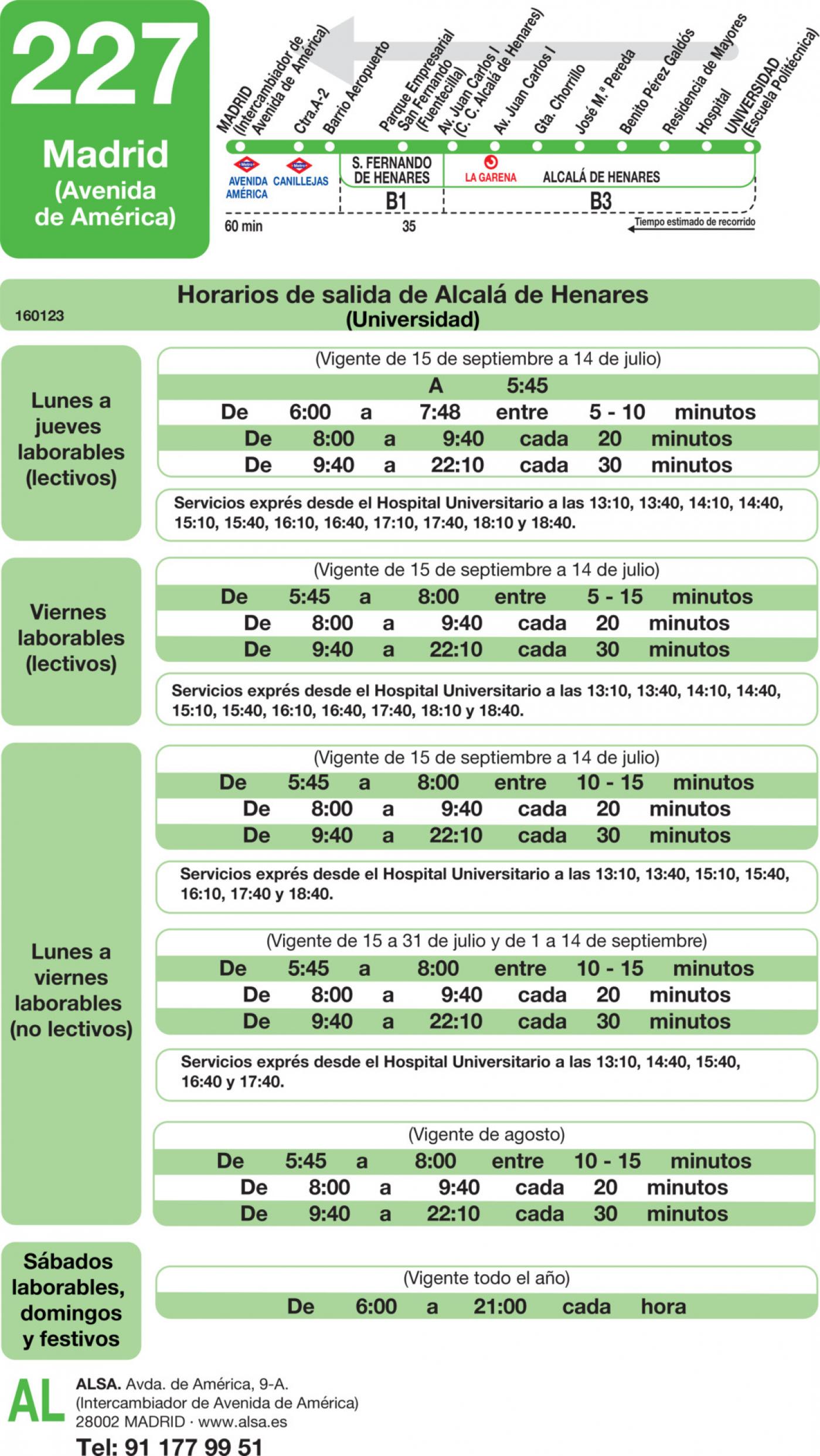 Tabla de horarios y frecuencias de paso en sentido vuelta Línea 227: Madrid (Avenida América) - Alcalá de Henares (Espartales - Universidad)