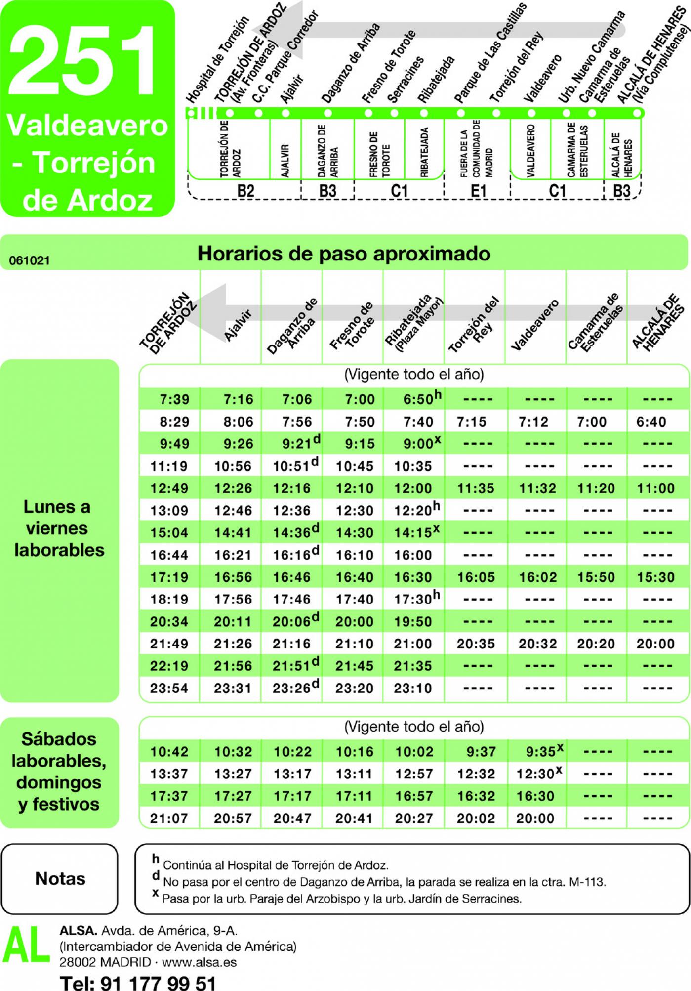 Tabla de horarios y frecuencias de paso en sentido vuelta Línea 251: Torrejón de Ardoz - Valdeavero - Alcalá de Henares