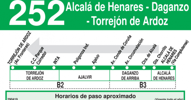 Horarios de autob s 252 torrej n de ardoz daganzo for Autobuses alcala de henares