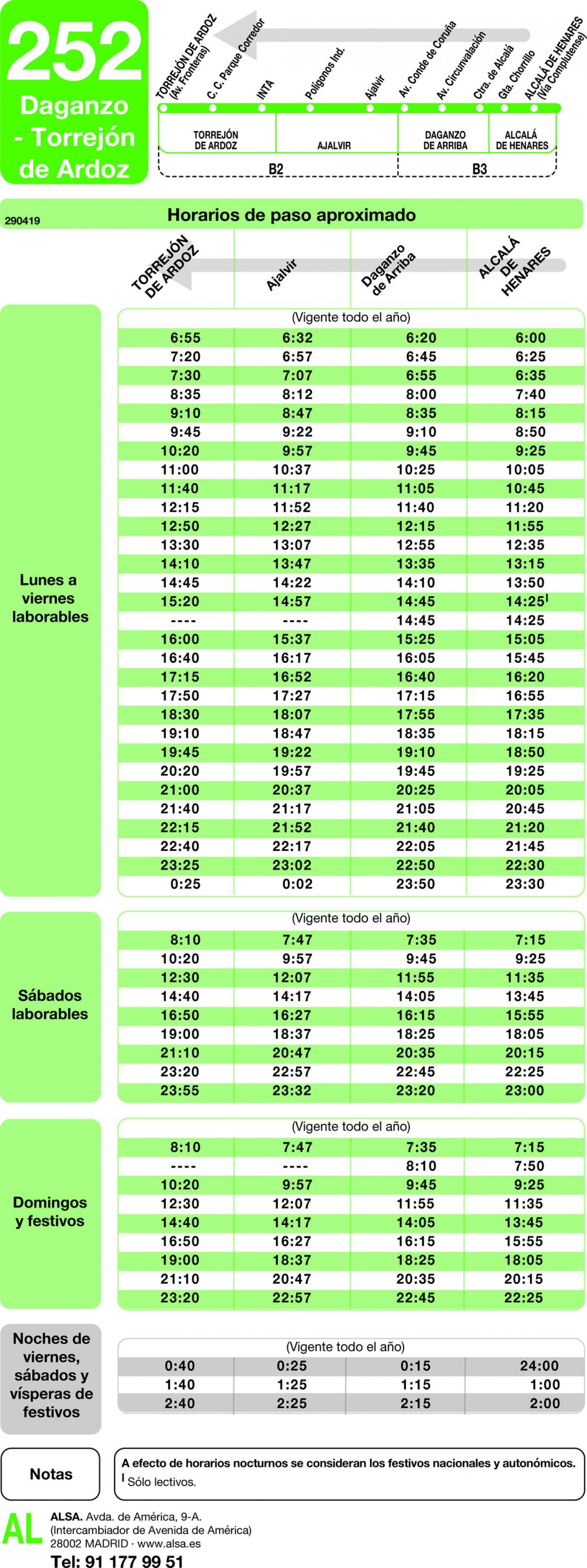 Tabla de horarios y frecuencias de paso en sentido vuelta Línea 252: Torrejón de Ardoz - Daganzo - Alcalá de Henares