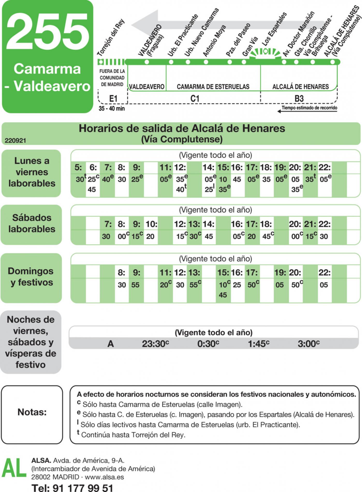 Tabla de horarios y frecuencias de paso en sentido vuelta Línea 255: Valdeavero - Camarma de Esteruelas - Alcalá de Henares