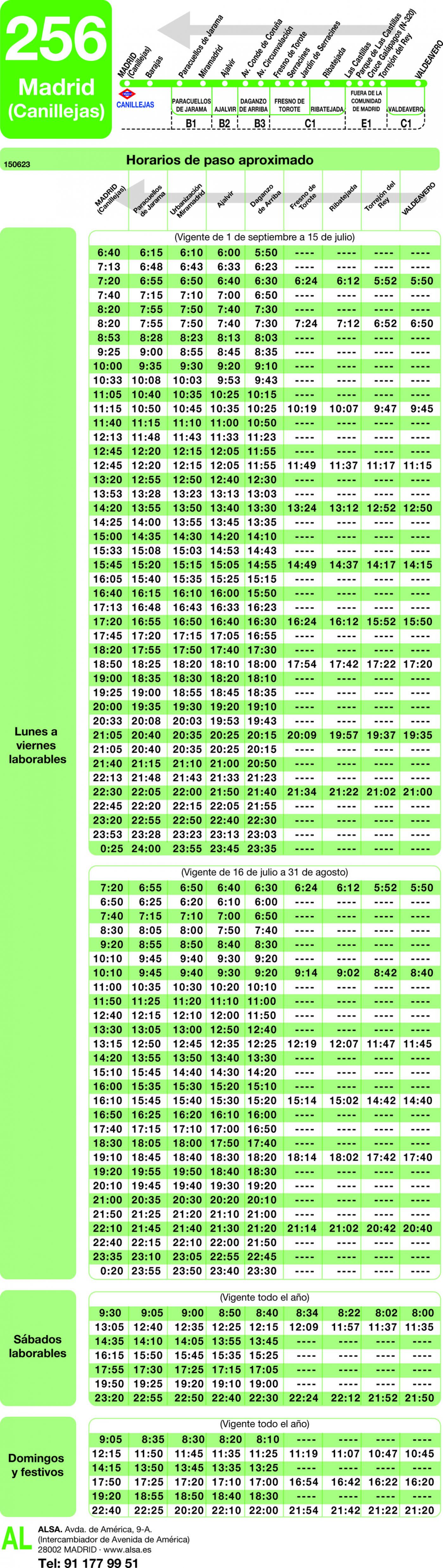 Tabla de horarios y frecuencias de paso en sentido vuelta Línea 256: Madrid (Barajas) - Daganzo - Valdeavero