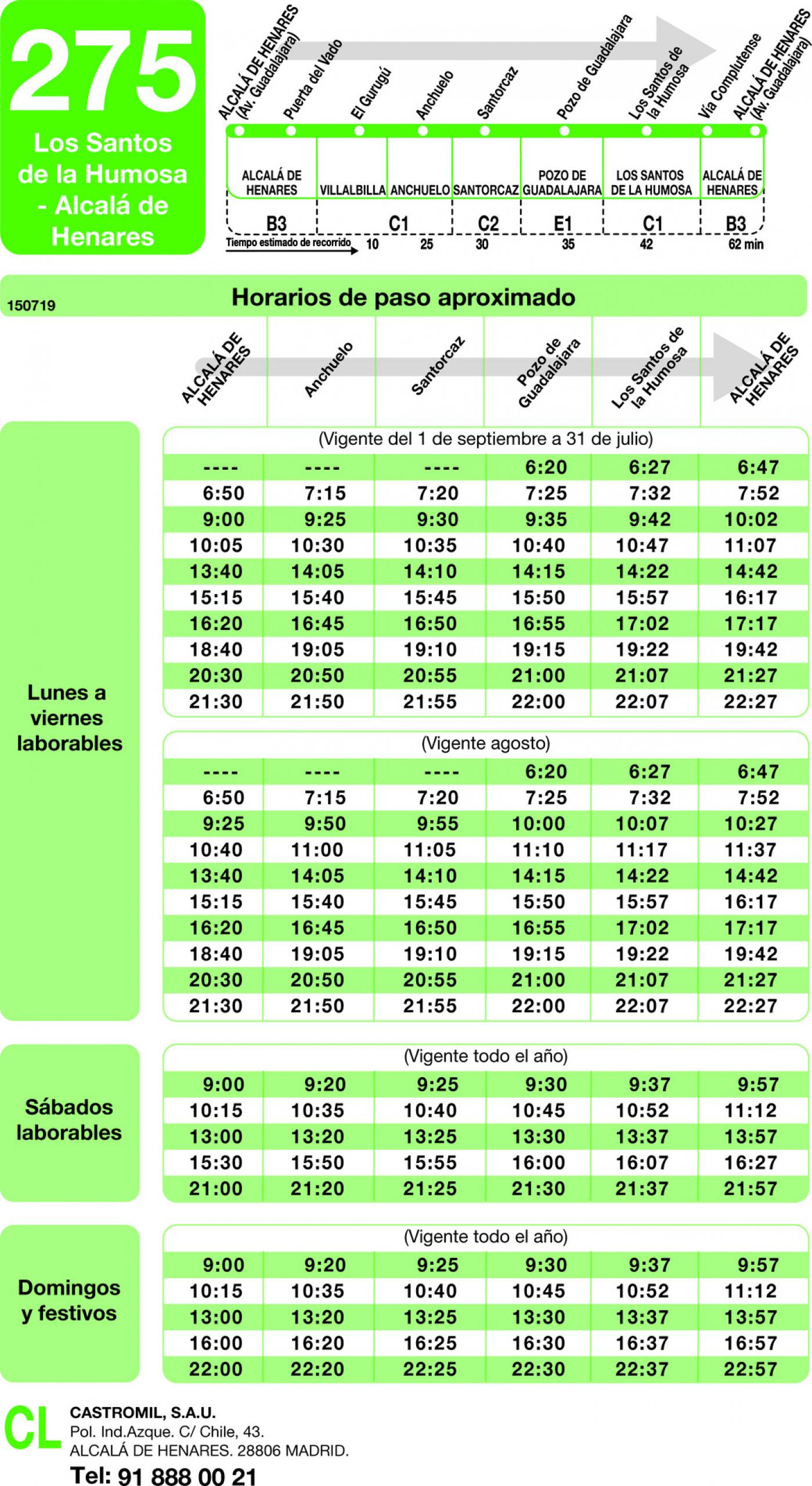 Tabla de horarios y frecuencias de paso en sentido vuelta Línea 275: Alcalá de Henares - Los Santos de la Humosa