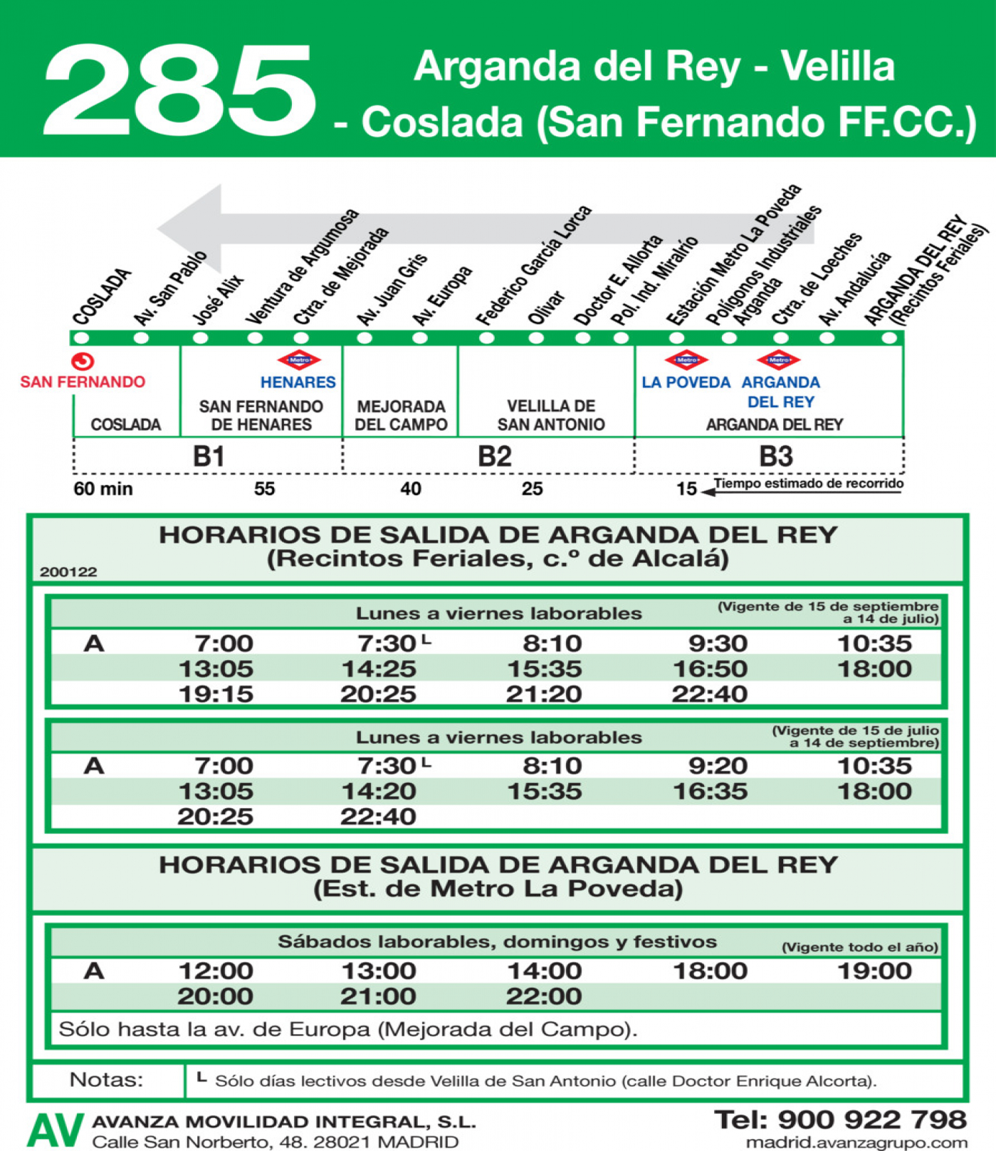 Tabla de horarios y frecuencias de paso en sentido vuelta Línea 285: Coslada (San Fernando RENFE) - Velilla - Arganda del Rey