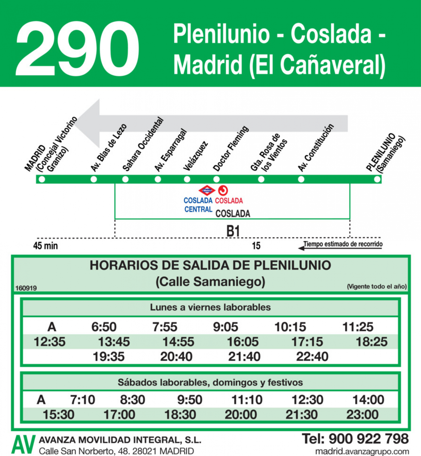 Tabla de horarios y frecuencias de paso en sentido vuelta Línea 290: Madrid (El Cañaveral) - Coslada (Plenilunio)