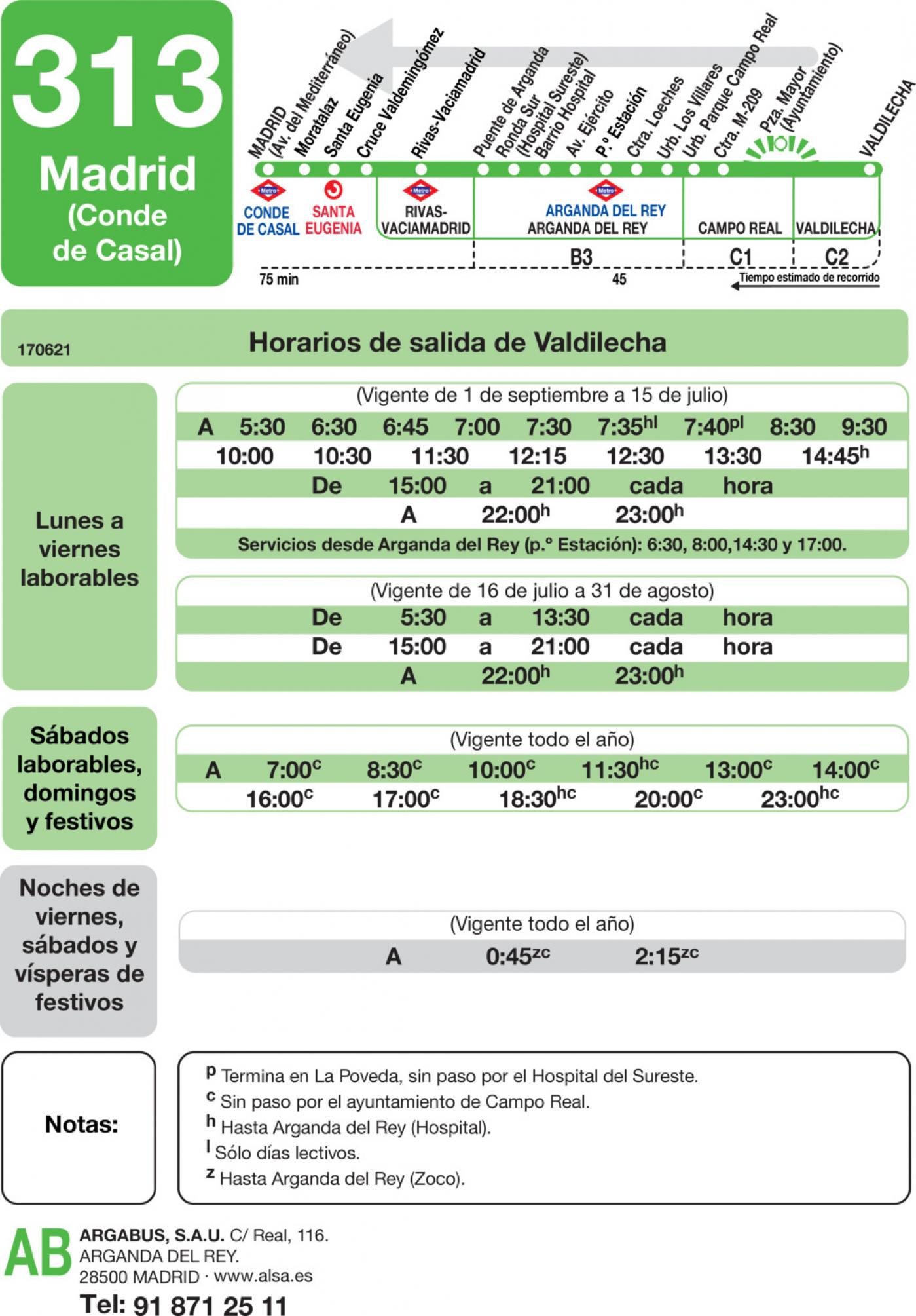 Tabla de horarios y frecuencias de paso en sentido vuelta Línea 313: Madrid (Conde Casal) - Valdilecha