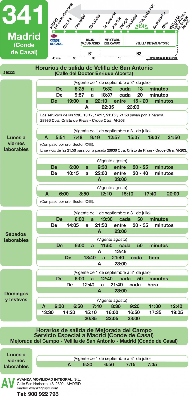 Tabla de horarios y frecuencias de paso en sentido vuelta Línea 341: Madrid (Conde Casal) - Mejorada - Velilla