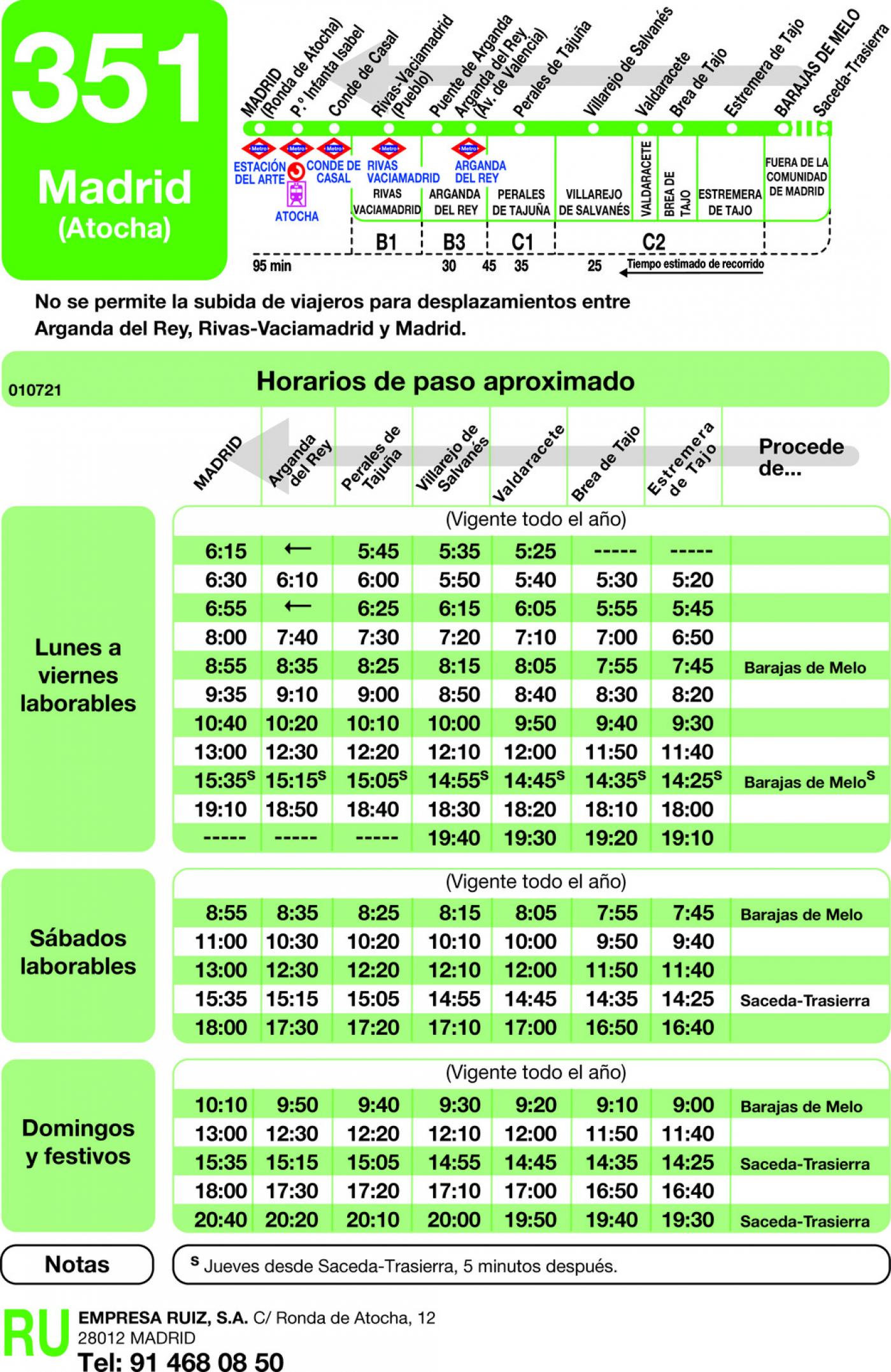 Tabla de horarios y frecuencias de paso en sentido vuelta Línea 351: Madrid (Ronda Atocha) - Estremera - Barajas de Melo