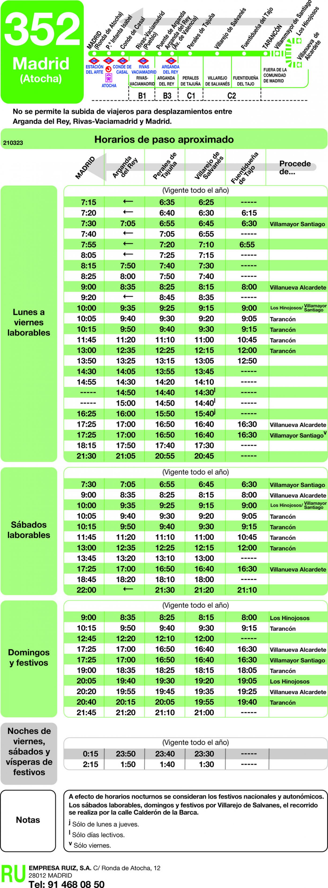 Tabla de horarios y frecuencias de paso en sentido vuelta Línea 352: Madrid (Ronda Atocha) - Fuentidueña - Tarancon