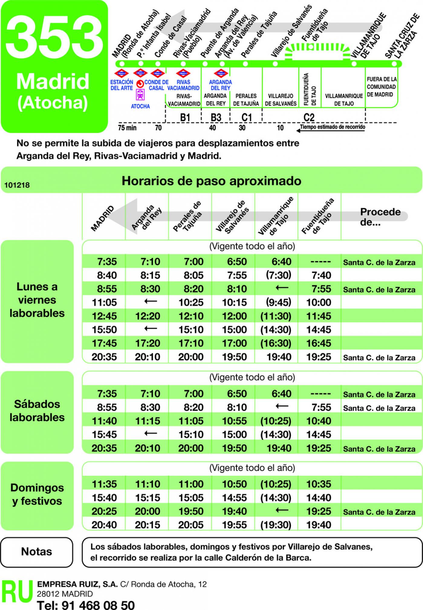 Tabla de horarios y frecuencias de paso en sentido vuelta Línea 353: Madrid (Ronda Atocha) - Villamanrique - Santa Cruz