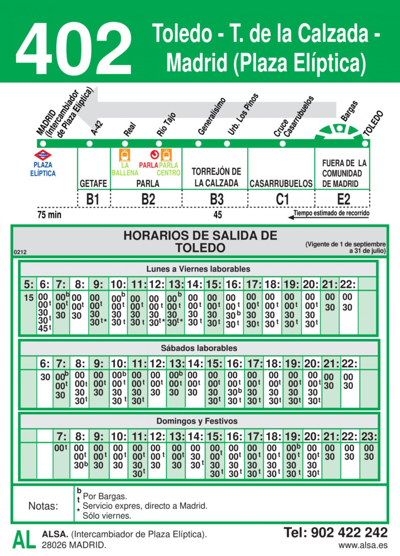 Tabla de horarios y frecuencias de paso en sentido vuelta Línea 402: Madrid (Plaza Elíptica) - Torrejón de la Calzada - Toledo