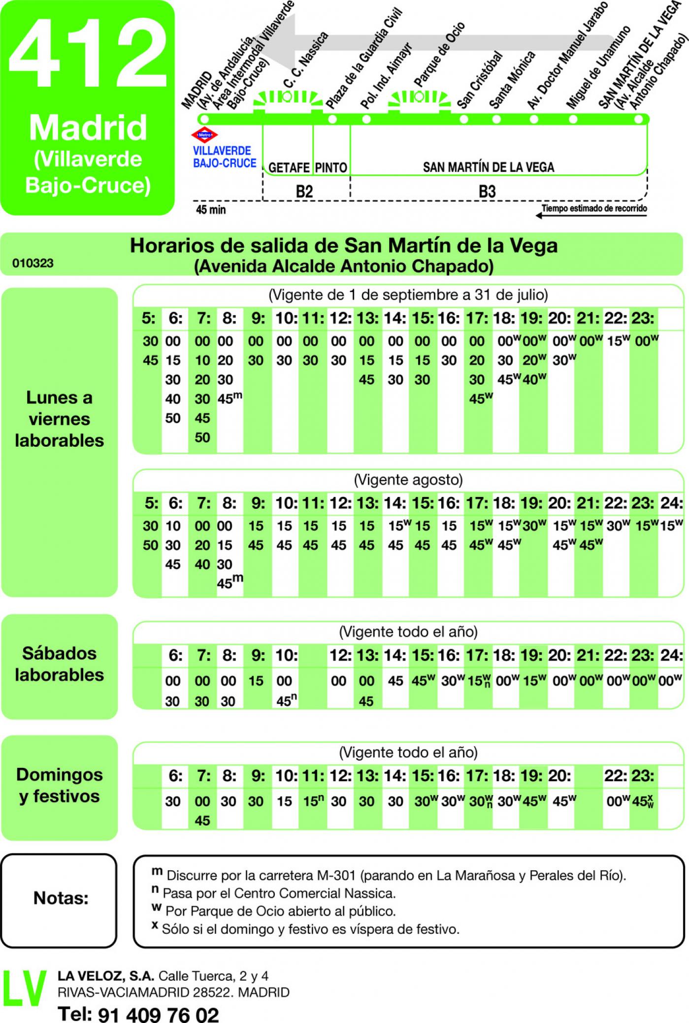 Tabla de horarios y frecuencias de paso en sentido vuelta Línea 412: Madrid (Villaverde Bajo - Cruce) - San Martín de la Vega