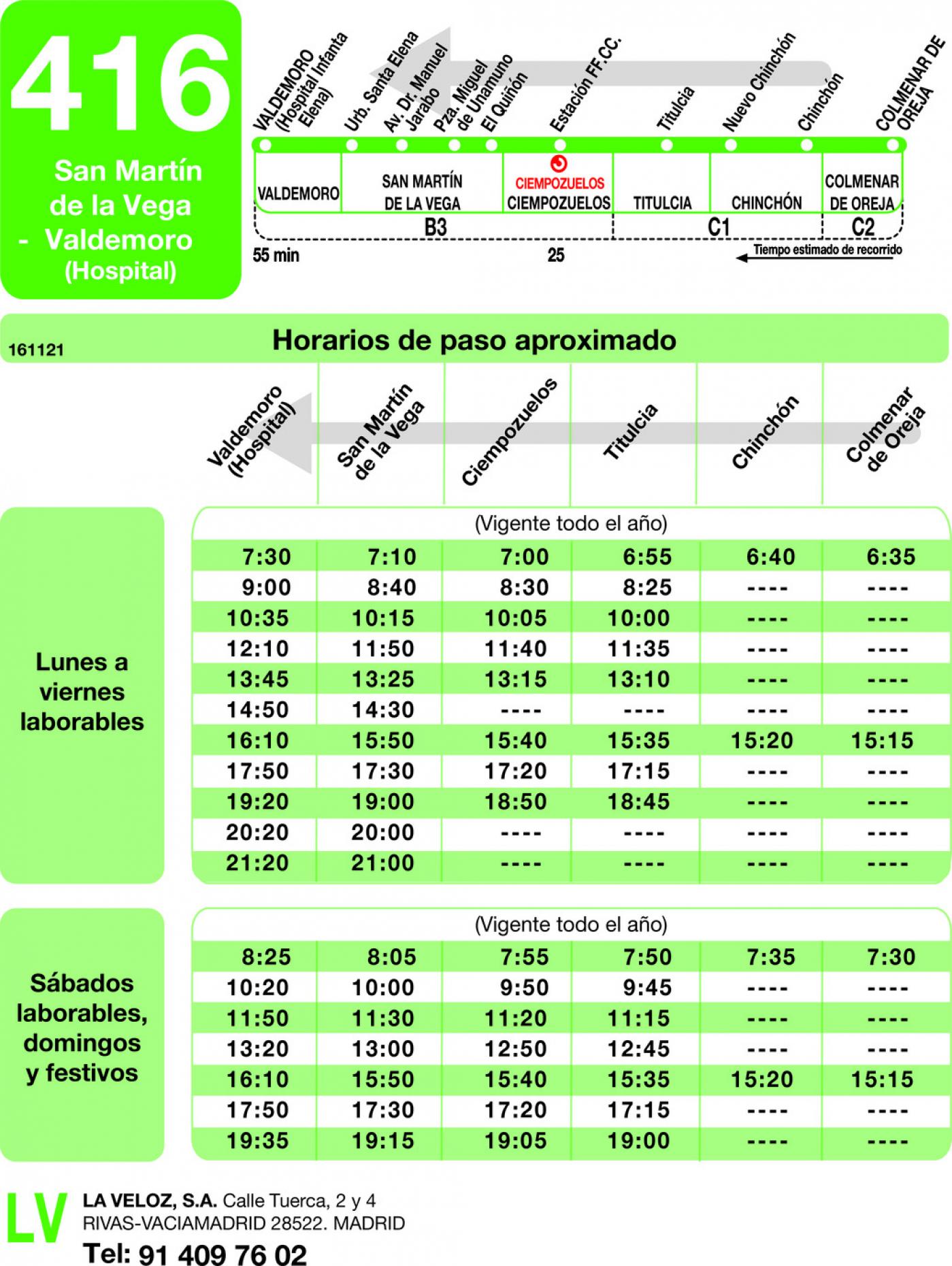 Tabla de horarios y frecuencias de paso en sentido vuelta Línea 416: Valdemoro (Hospital) - Titulcia - Colmenar de Oreja