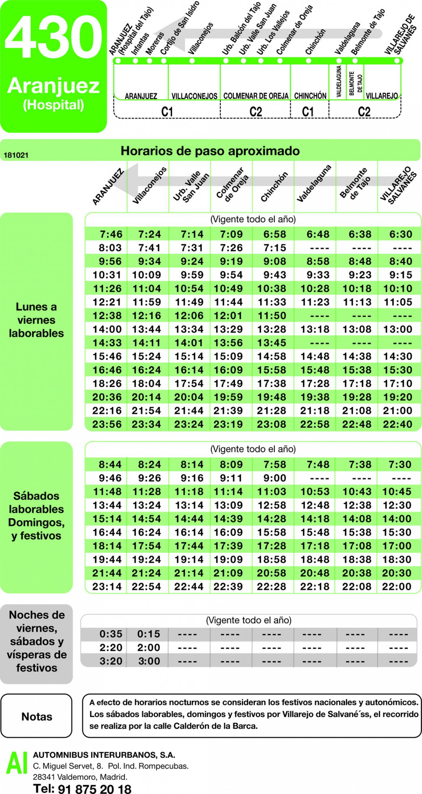 Tabla de horarios y frecuencias de paso en sentido vuelta Línea 430: Aranjuez - Villarejo de Salvanes