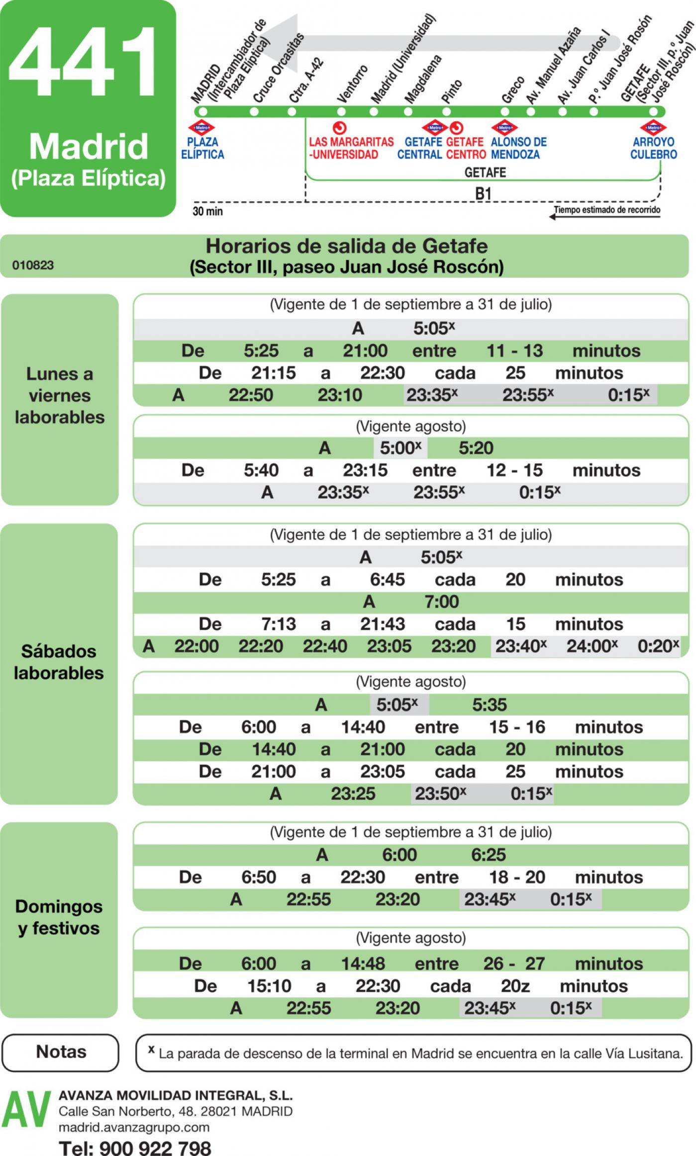 Tabla de horarios y frecuencias de paso en sentido vuelta Línea 441: Madrid (Plaza Elíptica) - Getafe (Sector III - Paseo Juan José Rosón)