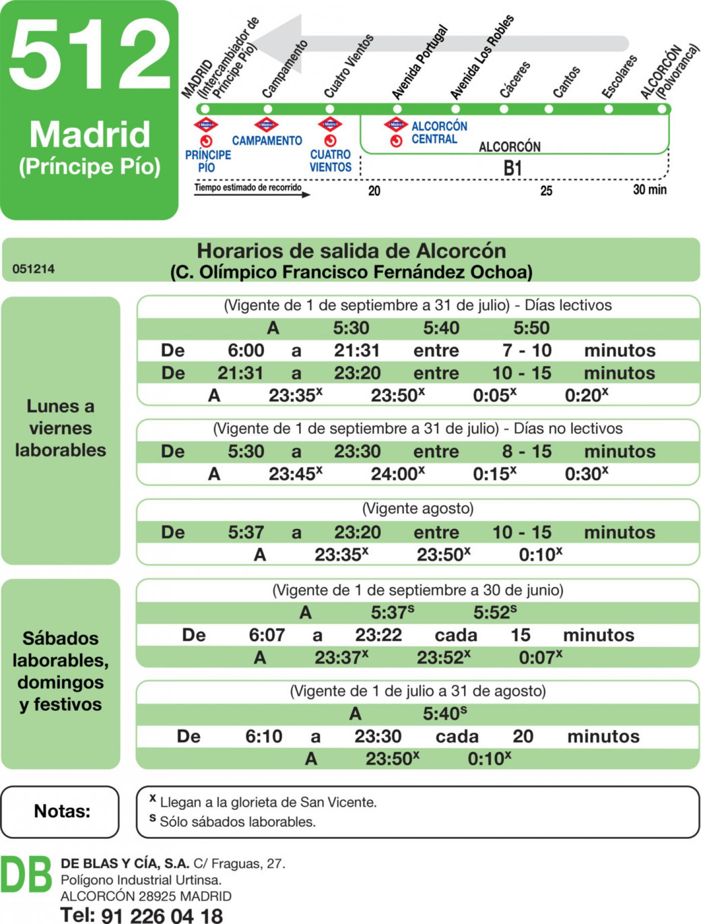 Tabla de horarios y frecuencias de paso en sentido vuelta Línea 512: Madrid (Príncipe Pío) - Alcorcón (Calle de los Cantos)