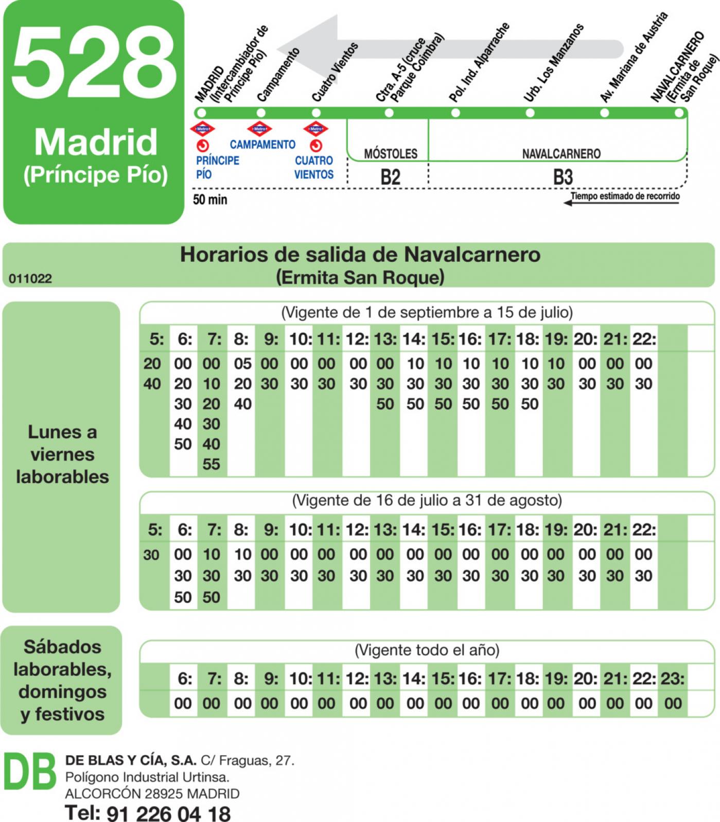 Tabla de horarios y frecuencias de paso en sentido vuelta Línea 528: Madrid (Príncipe Pío) - Navalcarnero
