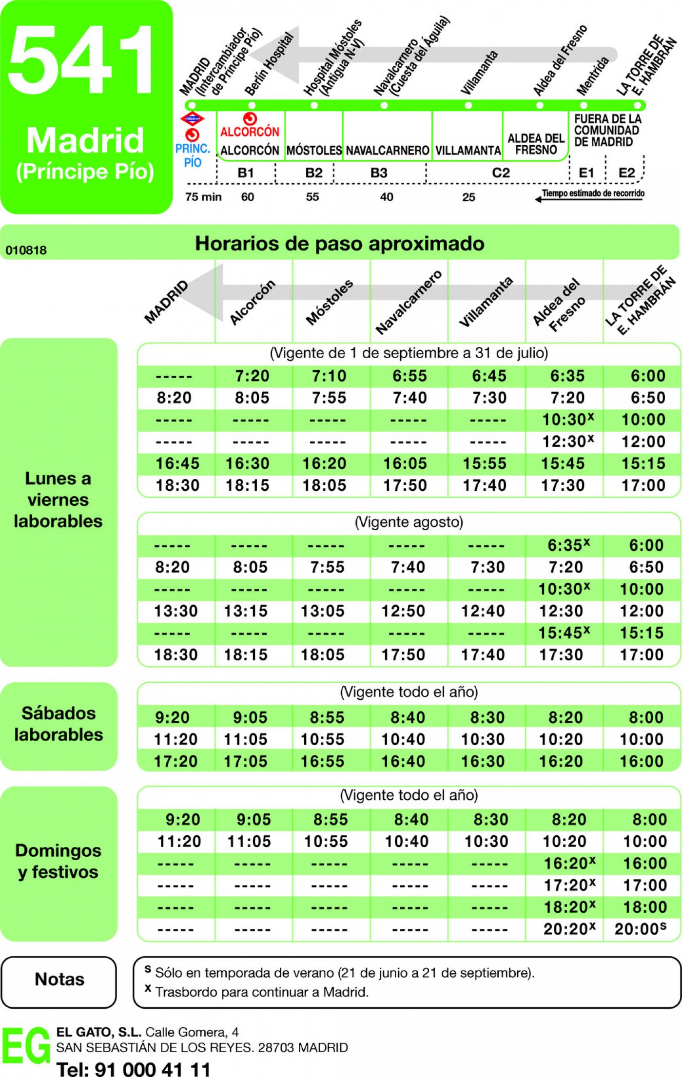 Tabla de horarios y frecuencias de paso en sentido vuelta Línea 541: Madrid (Príncipe Pío) - Villamanta - La Torre de Esteban Hambrán