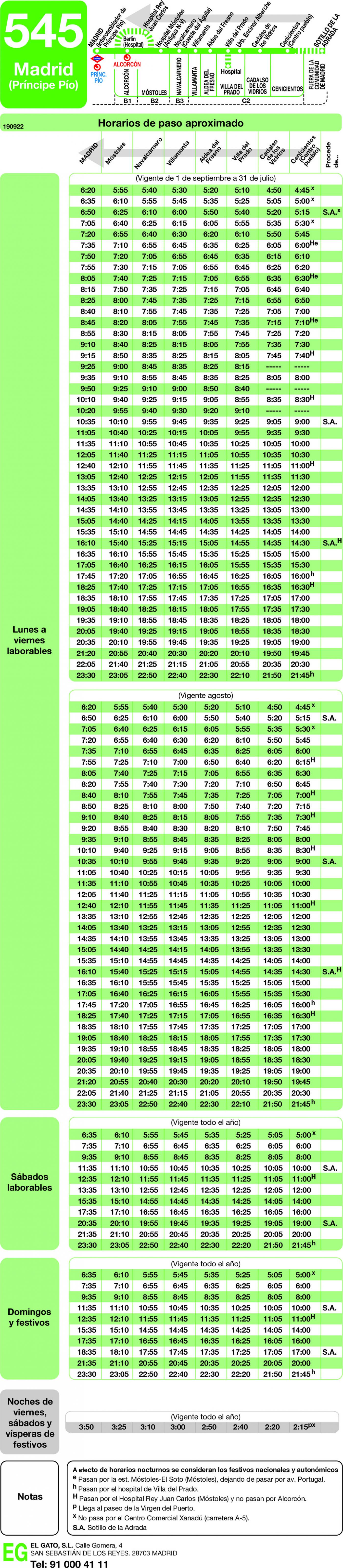 Tabla de horarios y frecuencias de paso en sentido vuelta Línea 545: Madrid (Príncipe Pío) - Cenicientos - Sotillo de la Adrada