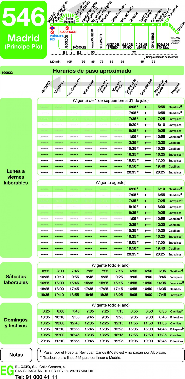 Tabla de horarios y frecuencias de paso en sentido vuelta Línea 546: Madrid (Príncipe Pío) - Rozas de Puerto Real - Casillas