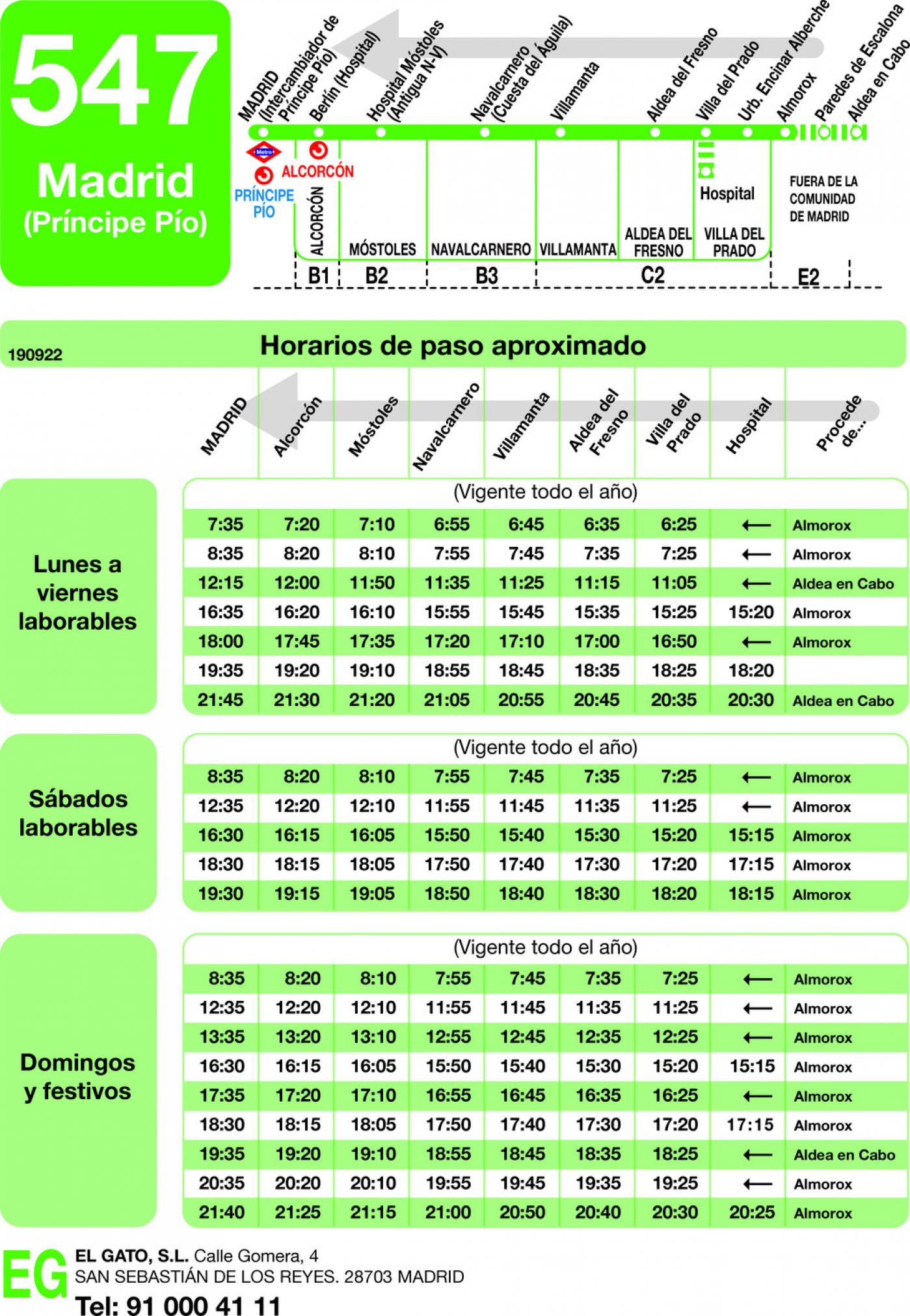 Tabla de horarios y frecuencias de paso en sentido vuelta Línea 547: Madrid (Principe Pío) - Villa del Prado - Almorox - Aldeaencabo
