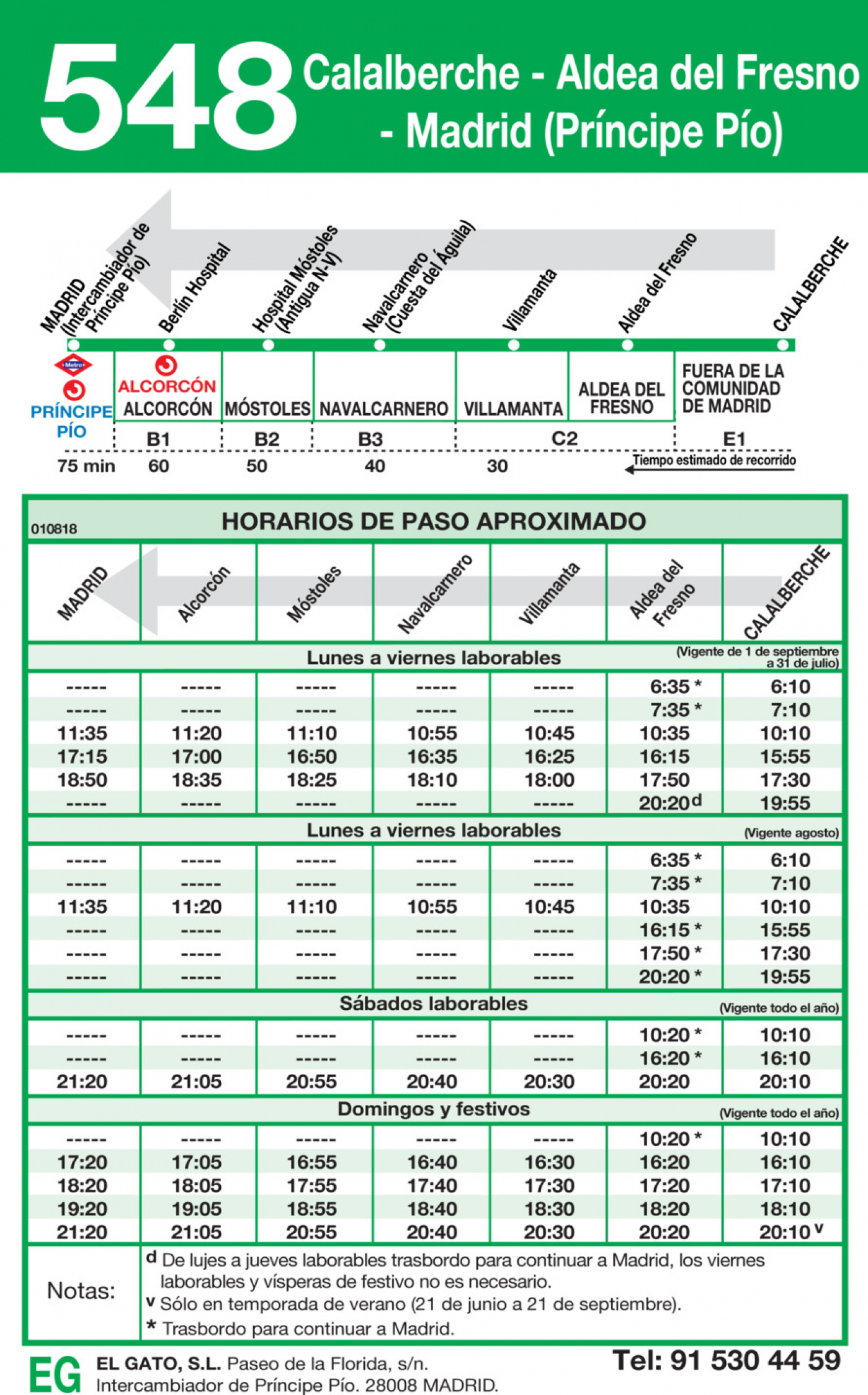 Tabla de horarios y frecuencias de paso en sentido vuelta Línea 548: Madrid (Príncipe Pío) - Aldea del Fresno - Calalberche