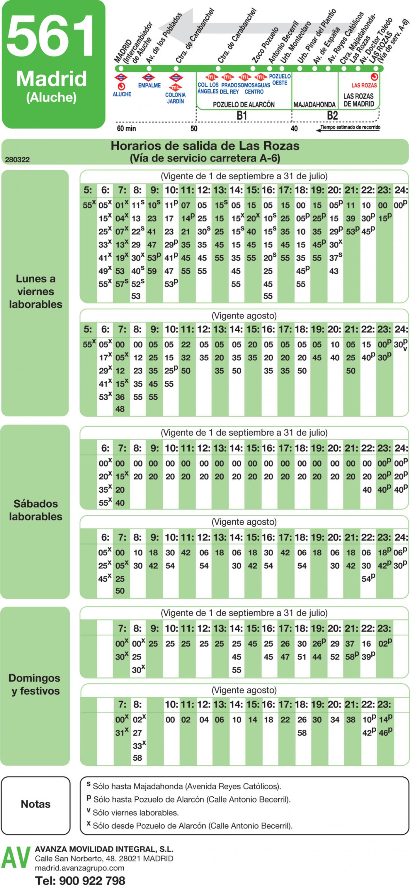 Tabla de horarios y frecuencias de paso en sentido vuelta Línea 561: Madrid (Aluche) - Pozuelo - Majadahonda - Las Rozas