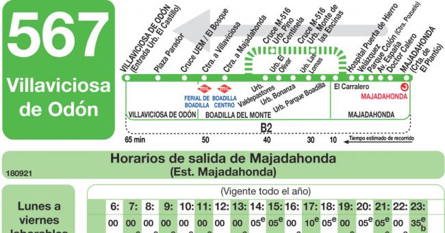 horario autobus majadahonda empresa llorente:
