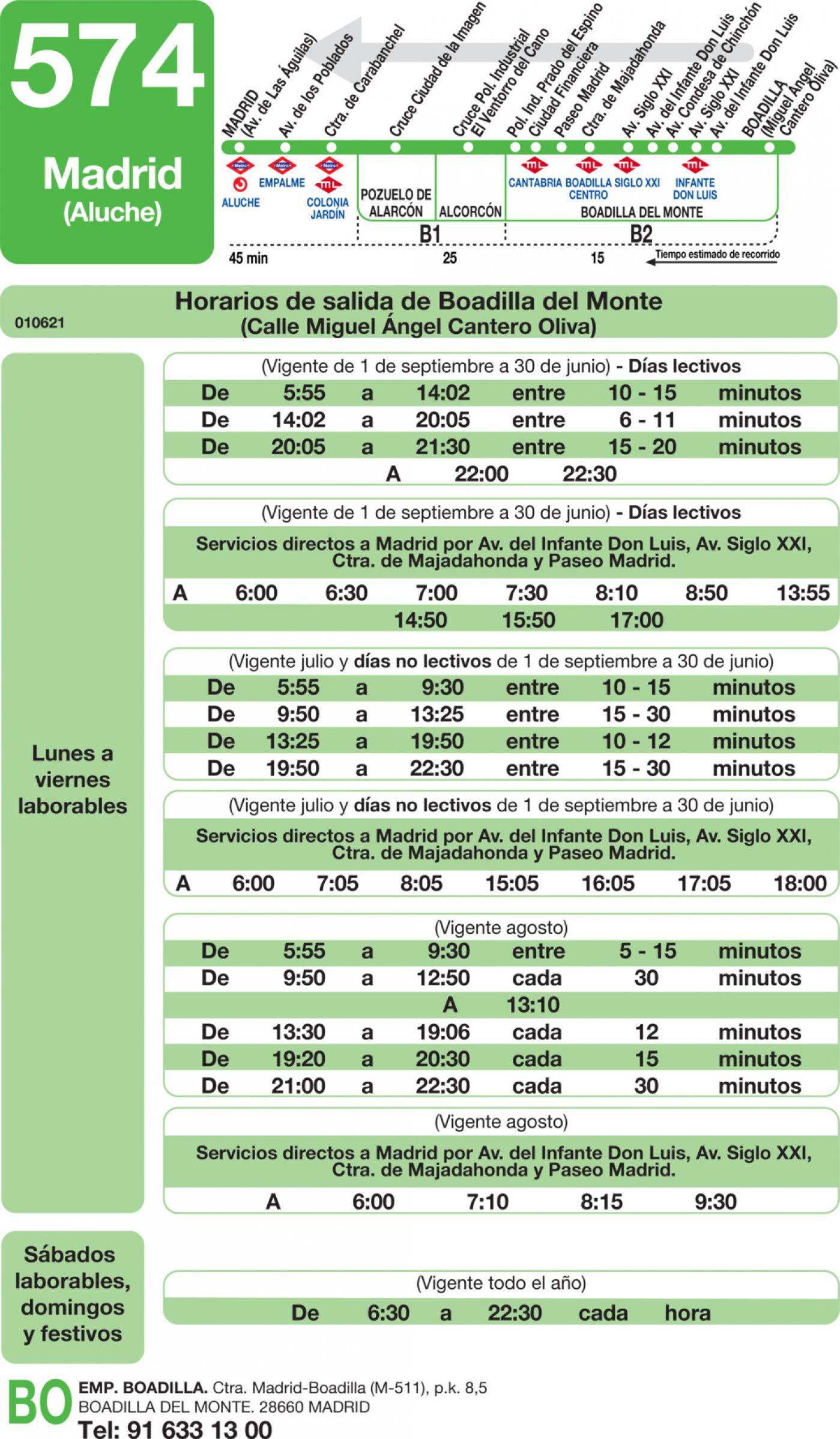 Tabla de horarios y frecuencias de paso en sentido vuelta Línea 574: Madrid (Aluche) - Boadilla del Monte (Ciudad Financiera)