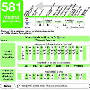 Horario vuelta de Línea 581