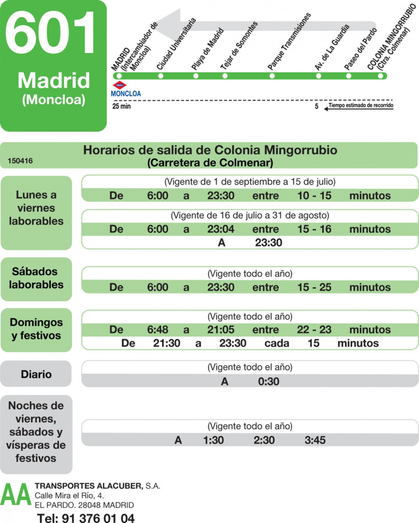 Tabla de horarios y frecuencias de paso en sentido vuelta Línea 601: Madrid (Moncloa) - El Pardo - Mingorrubio