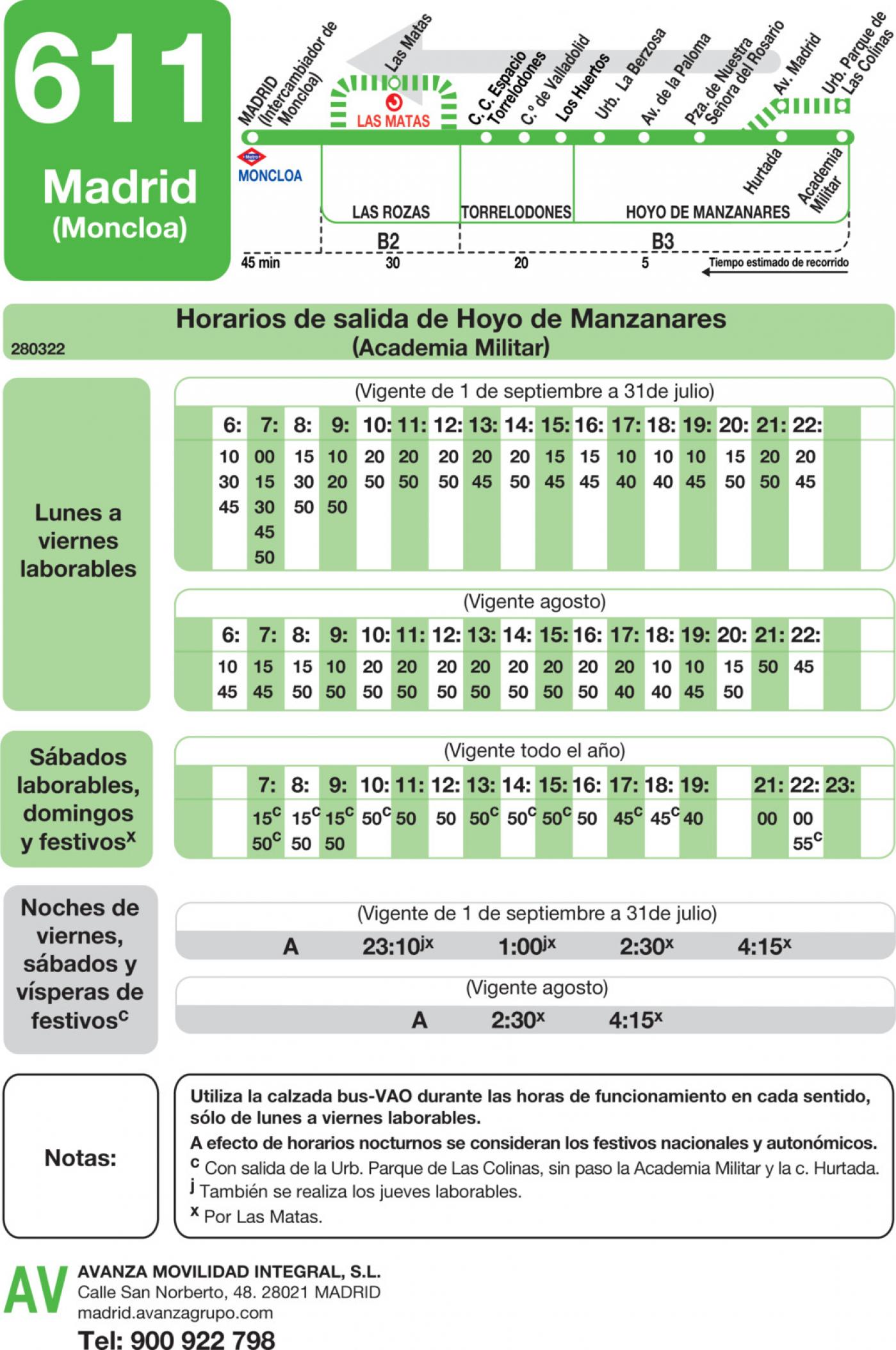 Tabla de horarios y frecuencias de paso en sentido vuelta Línea 611: Madrid (Moncloa) - Hoyo de Manzanares