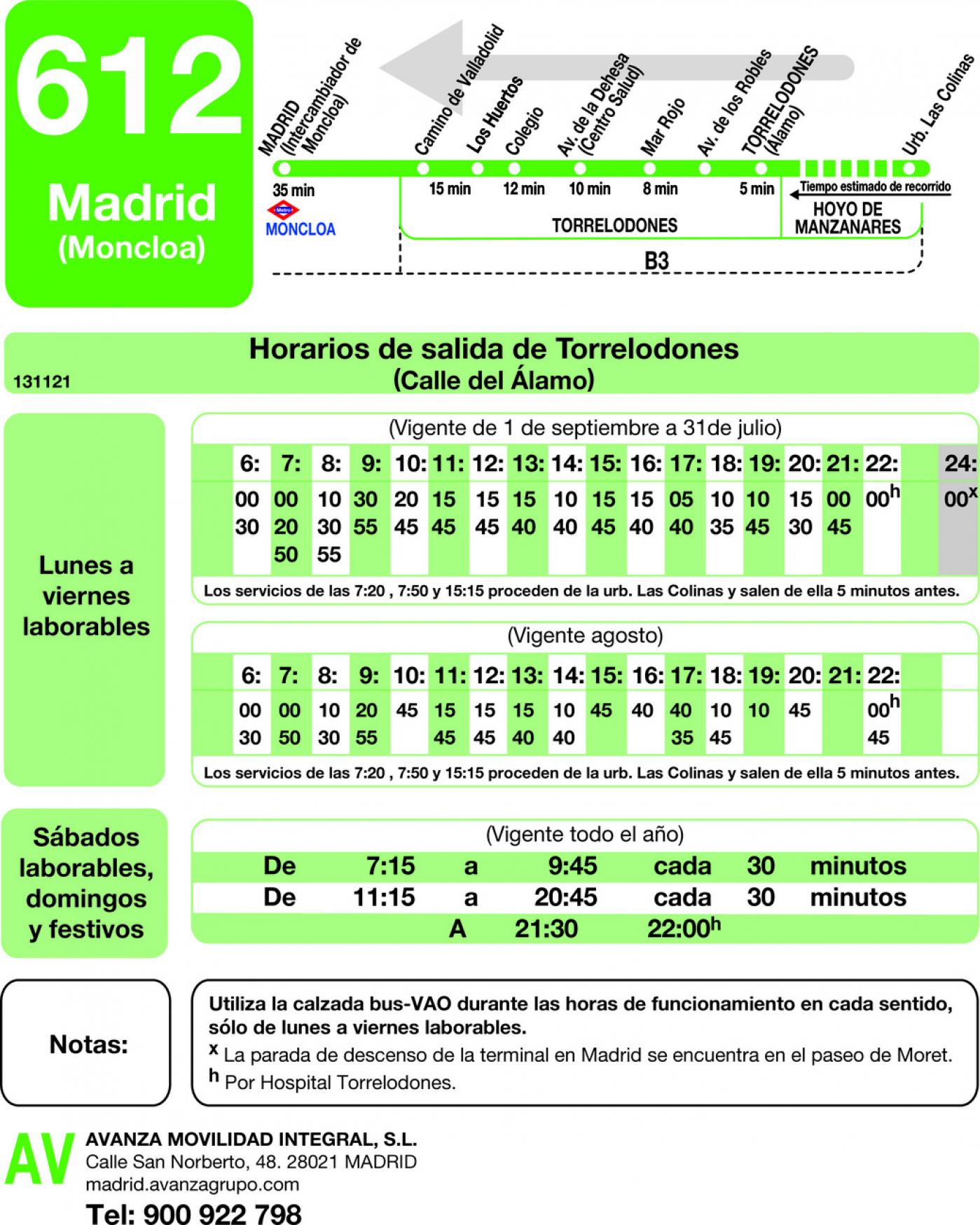Tabla de horarios y frecuencias de paso en sentido vuelta Línea 612: Madrid (Moncloa) - Torrelodones