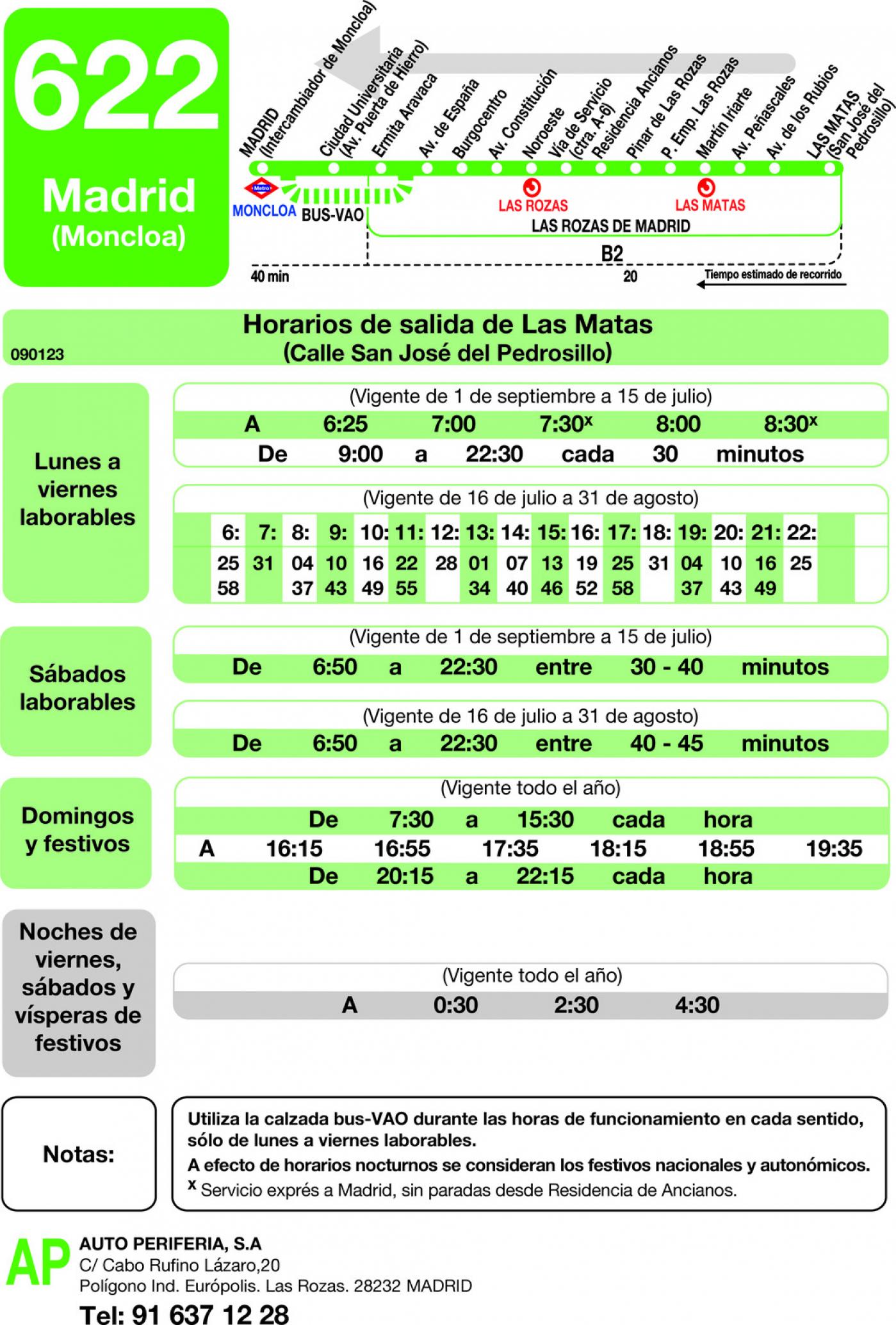 Tabla de horarios y frecuencias de paso en sentido vuelta Línea 622: Madrid (Moncloa) - Las Rozas - Las Matas
