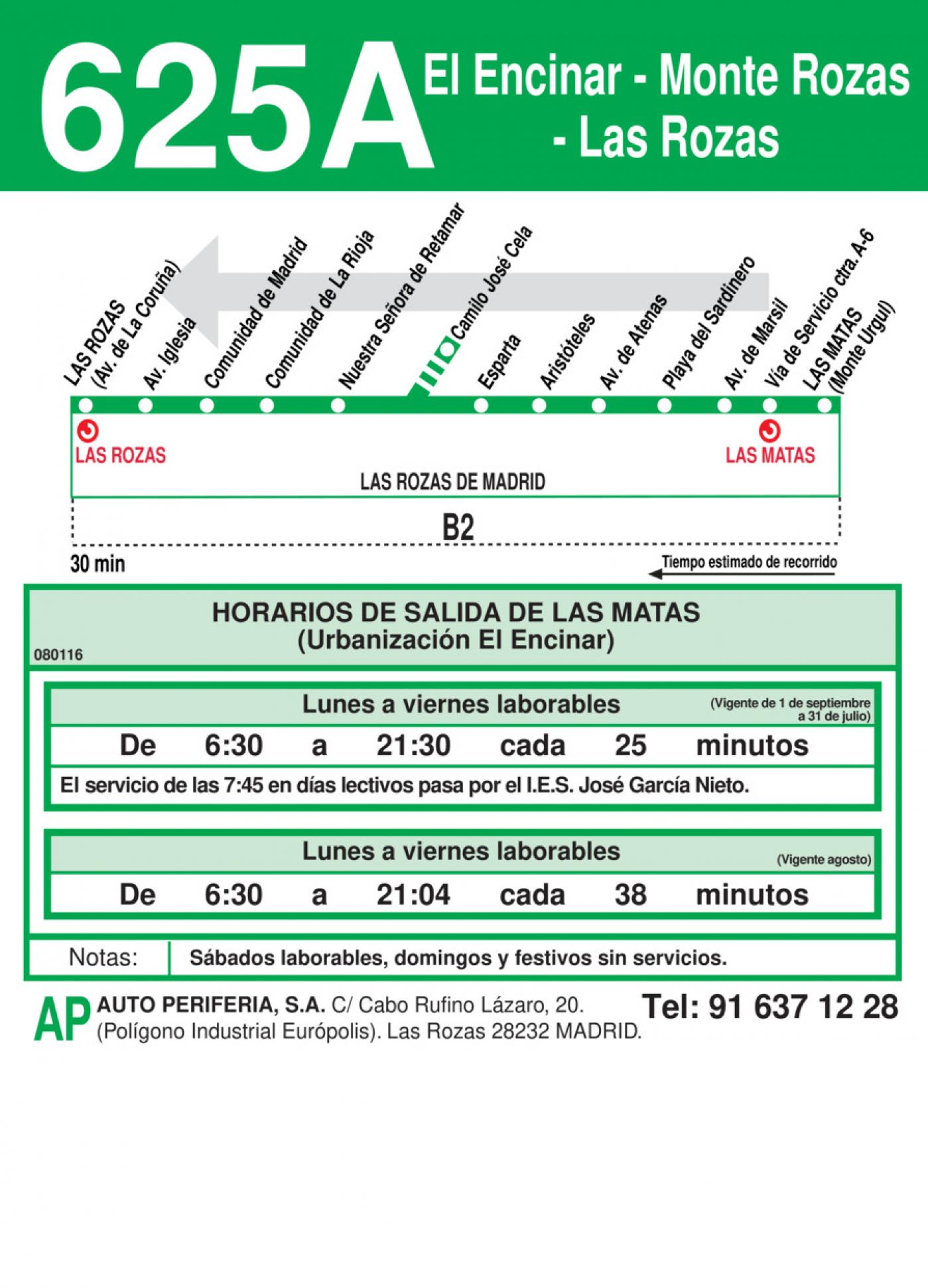 Tabla de horarios y frecuencias de paso en sentido vuelta Línea 625-A: Las Rozas - Monte Rozas - El Encinar