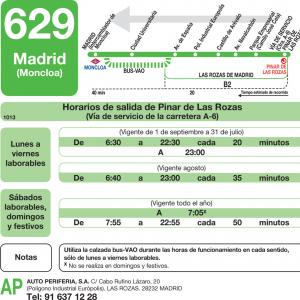 Horarios De Autobus 629 Madrid Moncloa Las Rozas Parque