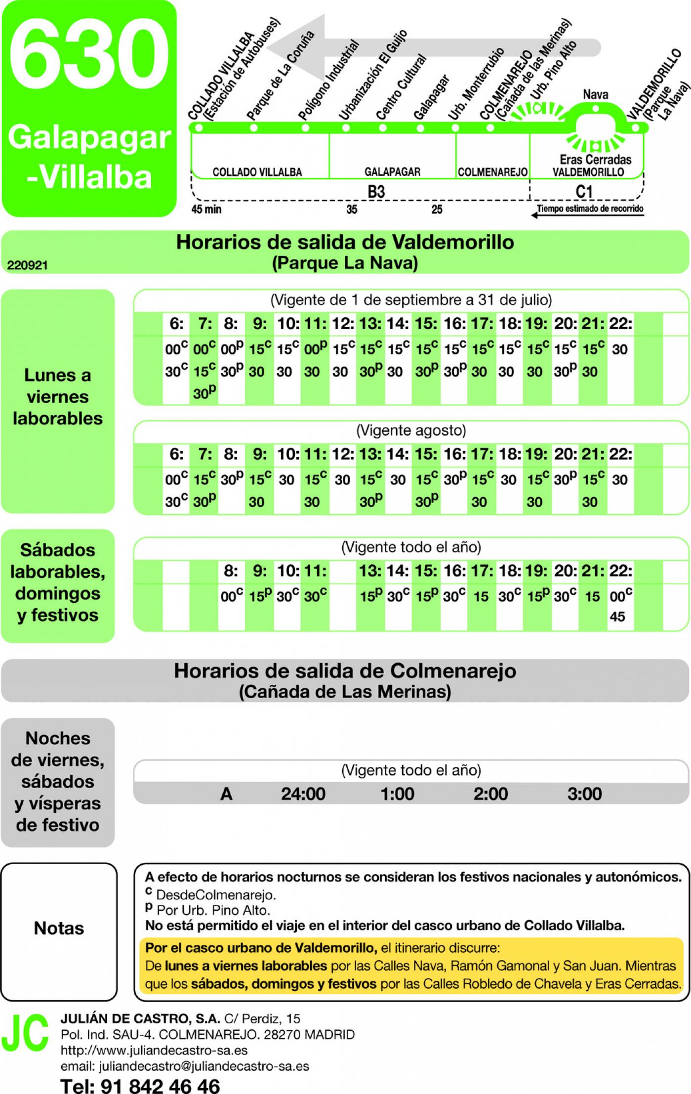 Tabla de horarios y frecuencias de paso en sentido vuelta Línea 630: Villalba (Estación) - Galapagar - Colmenarejo - Valdemorillo
