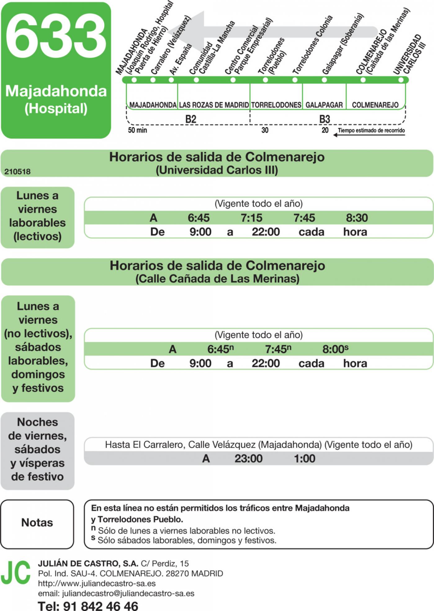 Tabla de horarios y frecuencias de paso en sentido vuelta Línea 633: Majadahonda (Hospital) - Colmenarejo