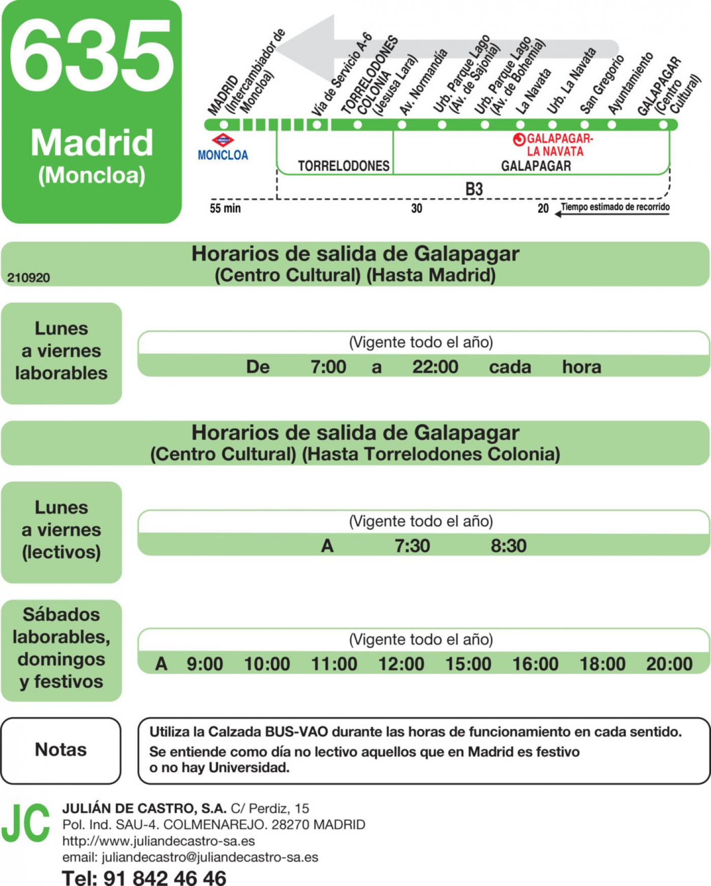 Tabla de horarios y frecuencias de paso en sentido vuelta Línea 635: Madrid (Moncloa) - Torrelodones (Colonia) - La Navata - Galapagar