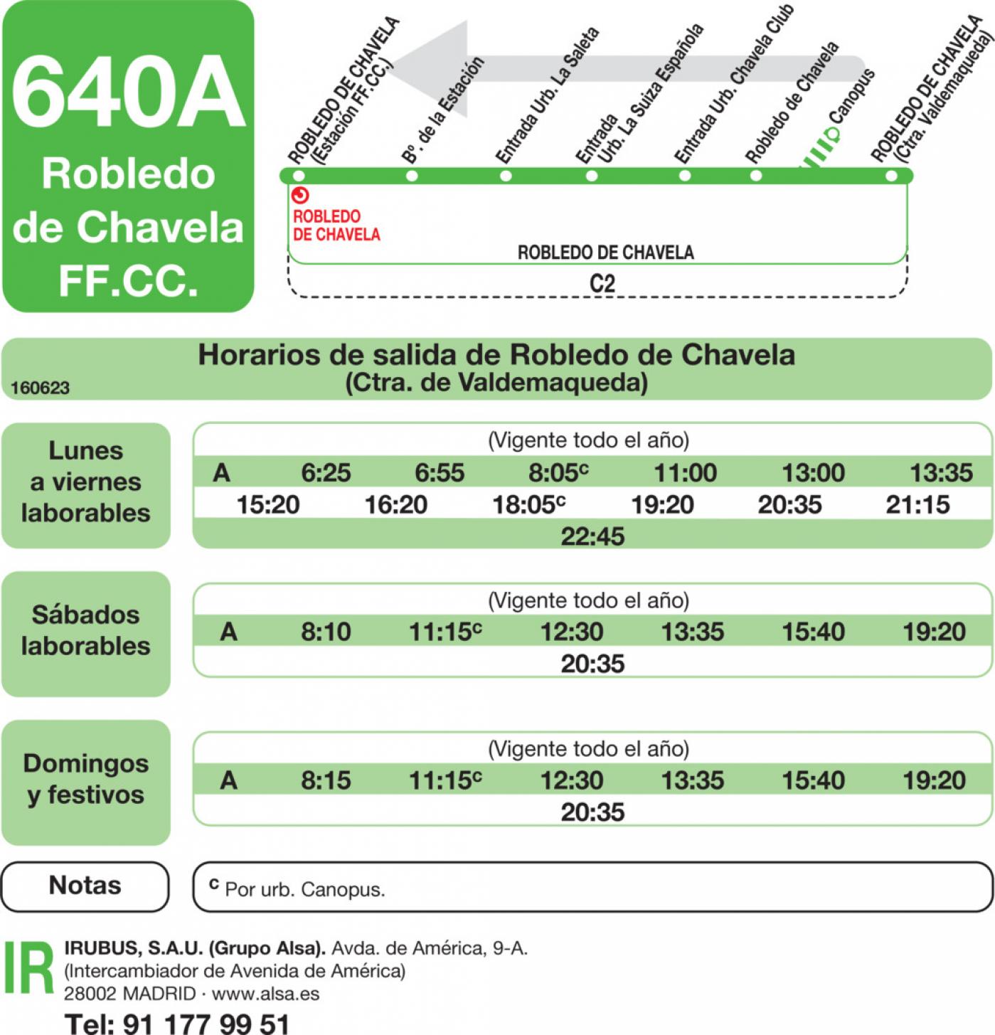 Tabla de horarios y frecuencias de paso en sentido vuelta Línea 640-A: Robledo de Chavela (RENFE) - Valdemaqueda