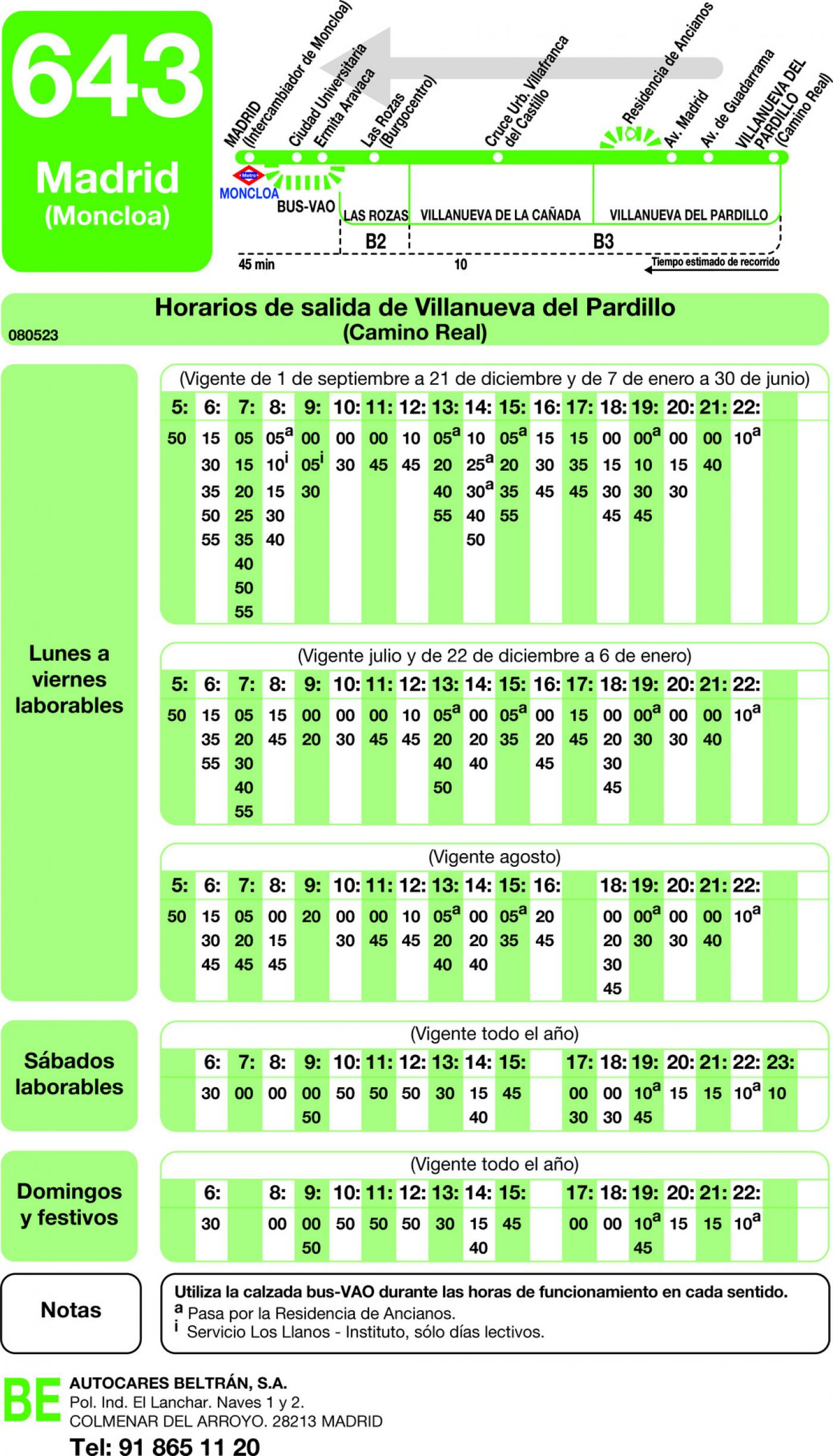 Tabla de horarios y frecuencias de paso en sentido vuelta Línea 643: Madrid (Moncloa) - Villanueva del Pardillo