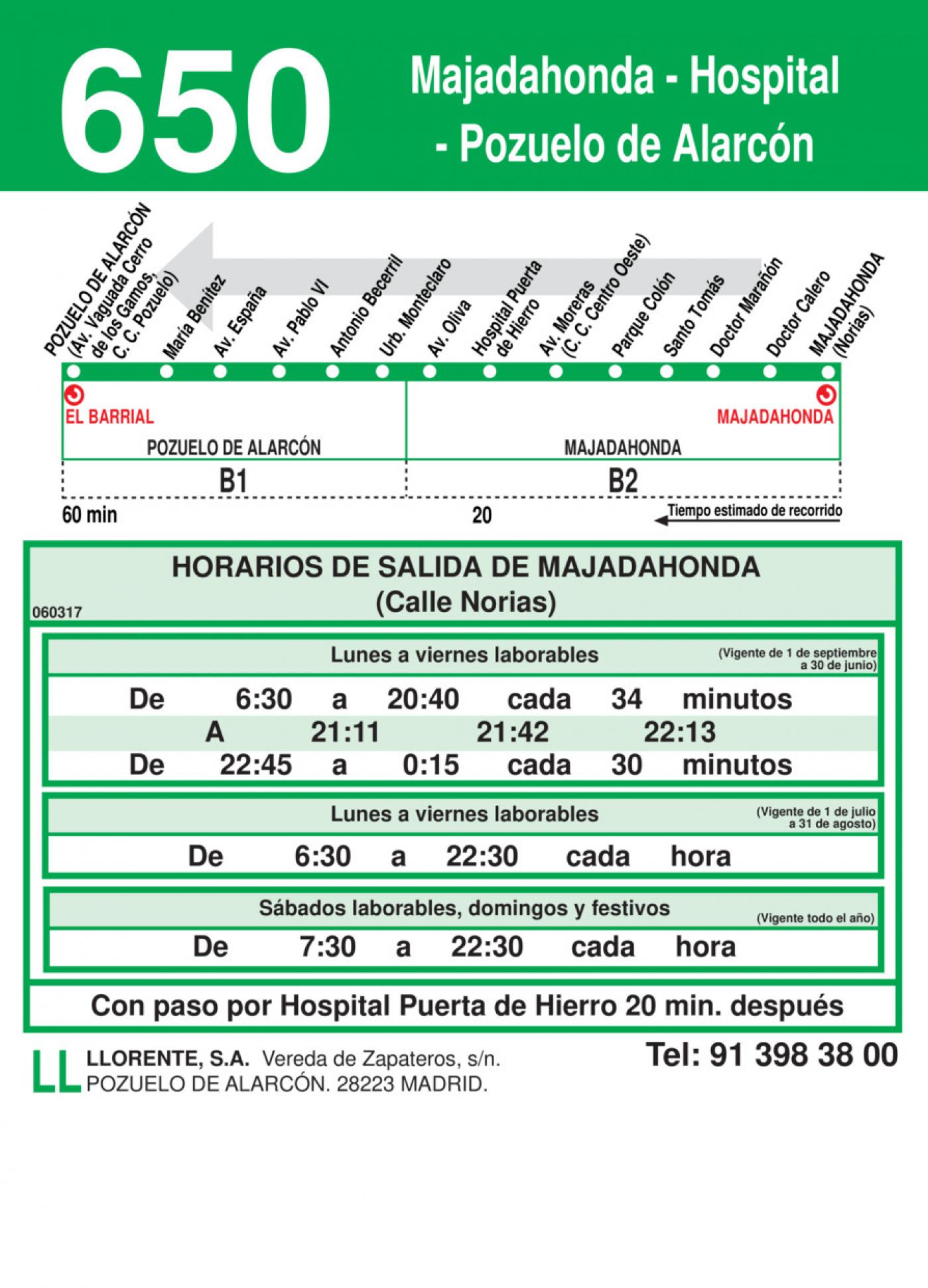 Tabla de horarios y frecuencias de paso en sentido vuelta Línea 650: Pozuelo de Alarcón - Hospital - Majadahonda