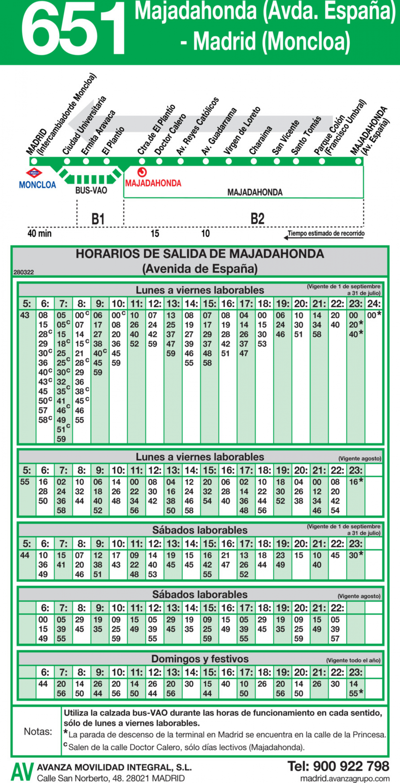 Tabla de horarios y frecuencias de paso en sentido vuelta Línea 651: Madrid (Moncloa) - Majadahonda (Avenida de España)
