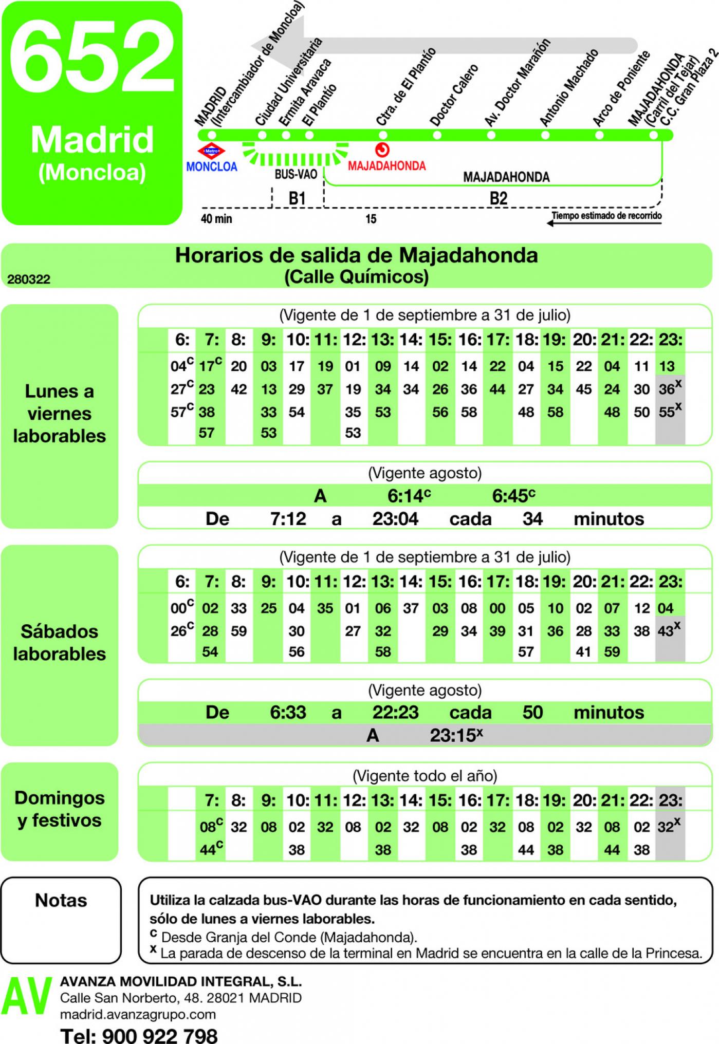 Tabla de horarios y frecuencias de paso en sentido vuelta Línea 652: Madrid (Moncloa) - Majadahonda (Granja del Conde)